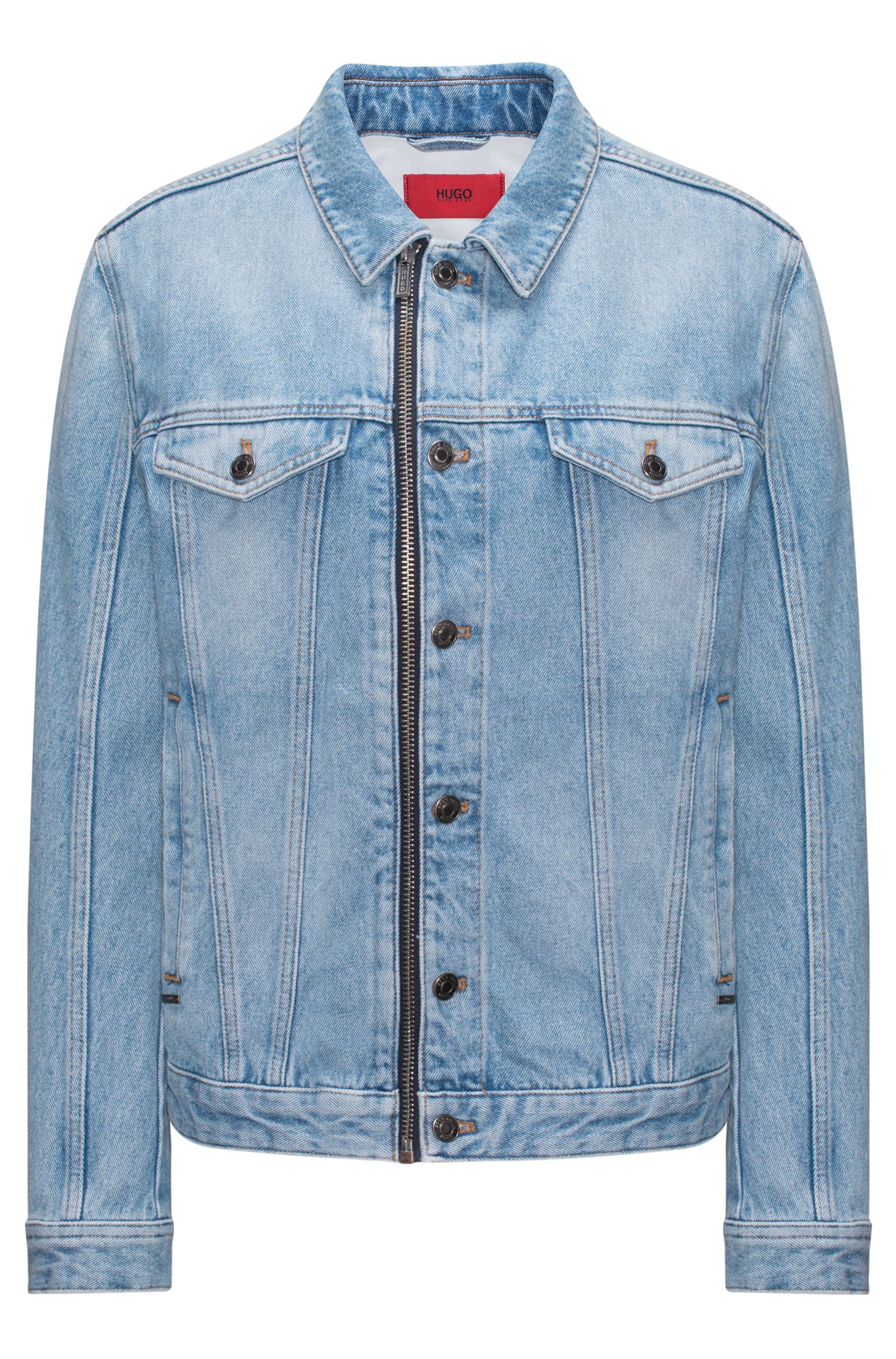 Giacca oversize in denim stonewashed con zip
