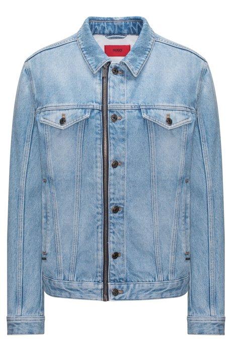 Oversized-fit stonewashed denim jacket with zip detail HUGO BOSS Choice Online Shop G7HlD1