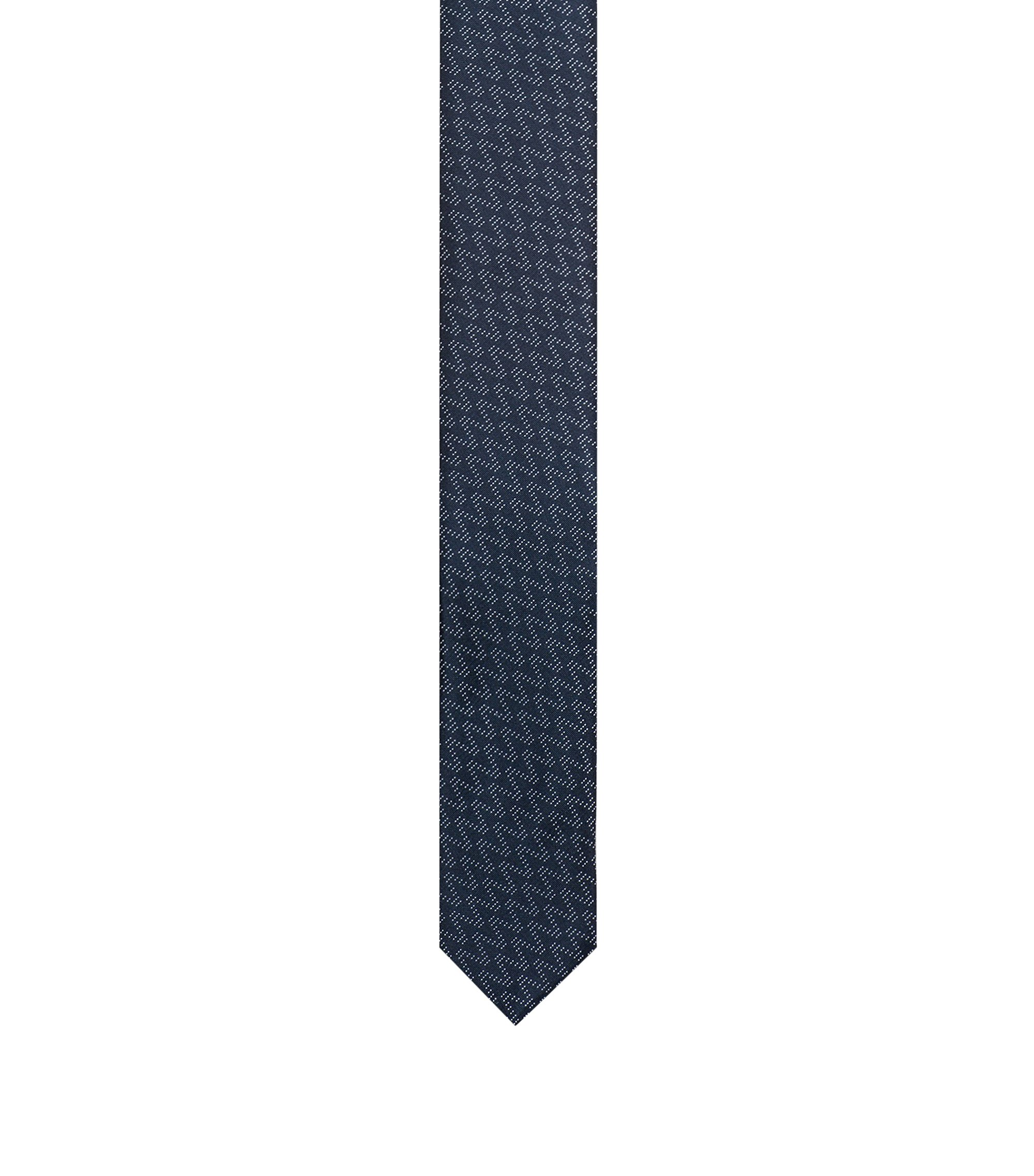 Straight silk jacquard tie with zigzag pattern, Dark Blue