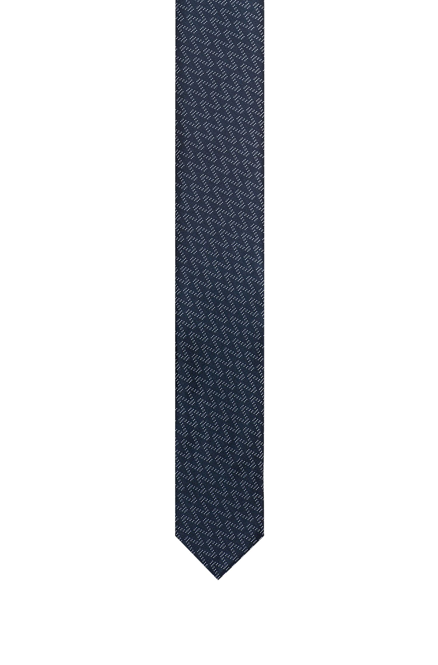 Straight silk jacquard tie with zigzag pattern