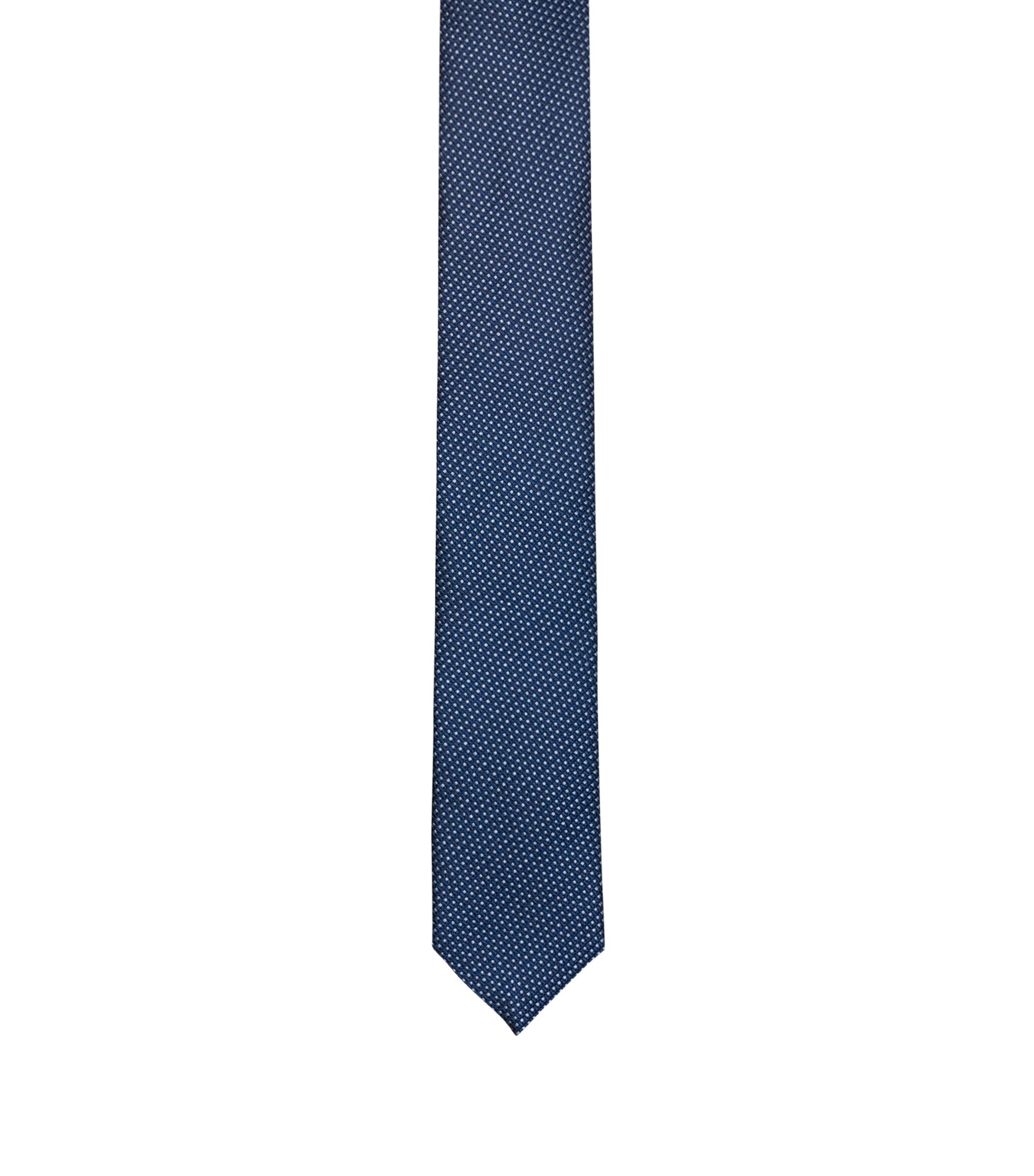 Modern micro-pattern tie in silk jacquard, Dark Blue