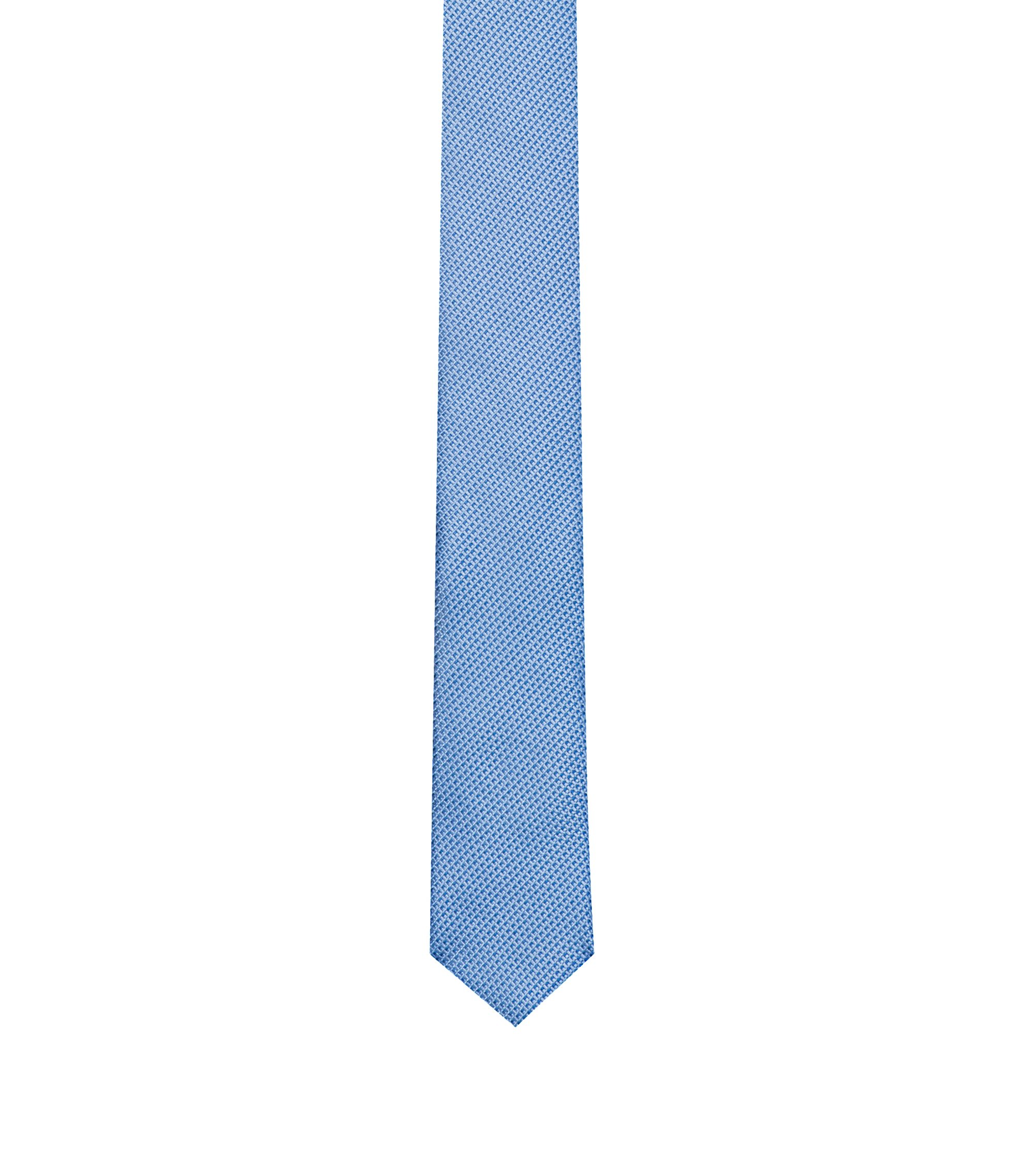 Modern micro-pattern tie in silk jacquard, Light Blue