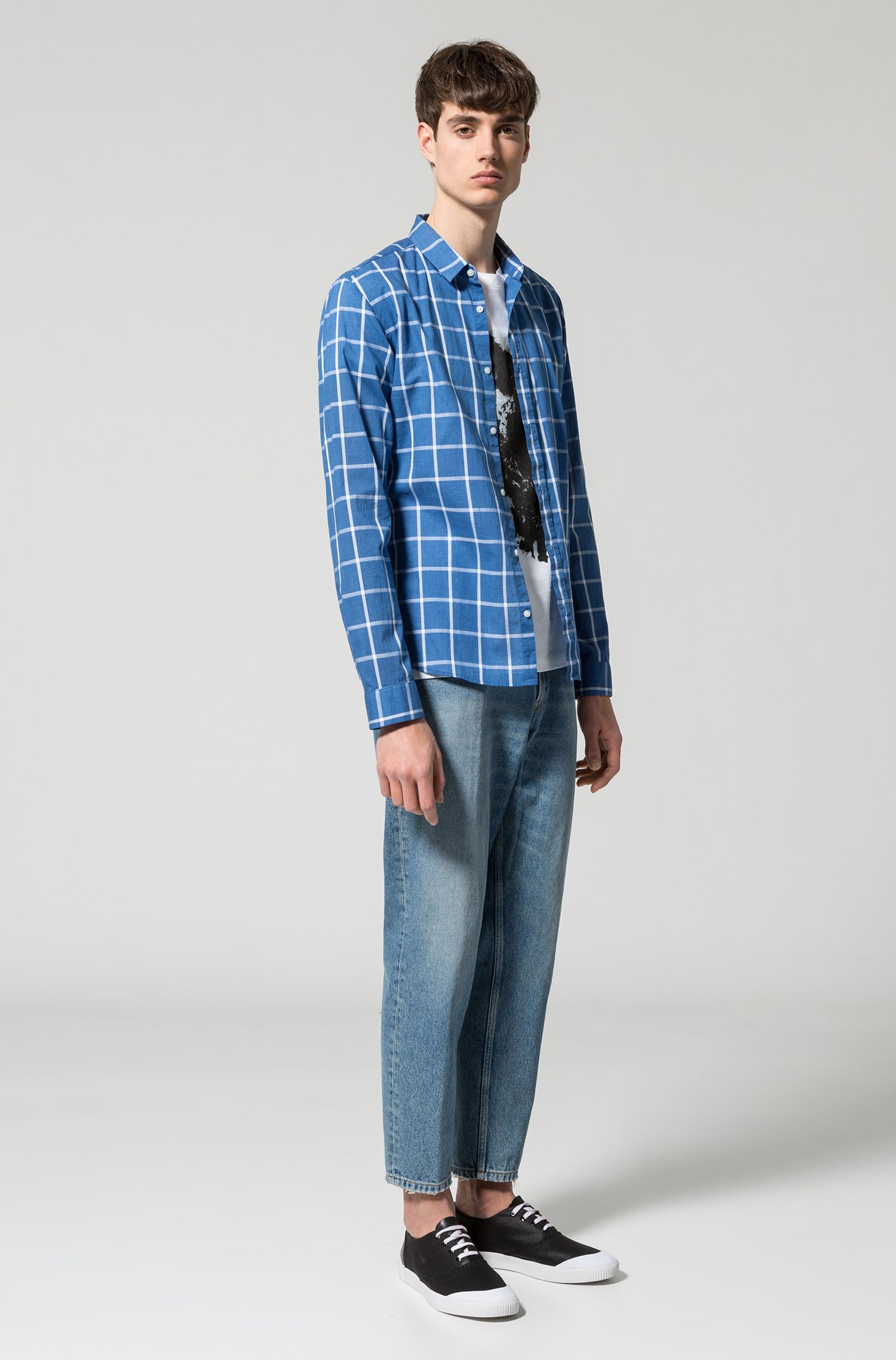 Extra-slim-fit checked shirt in cotton
