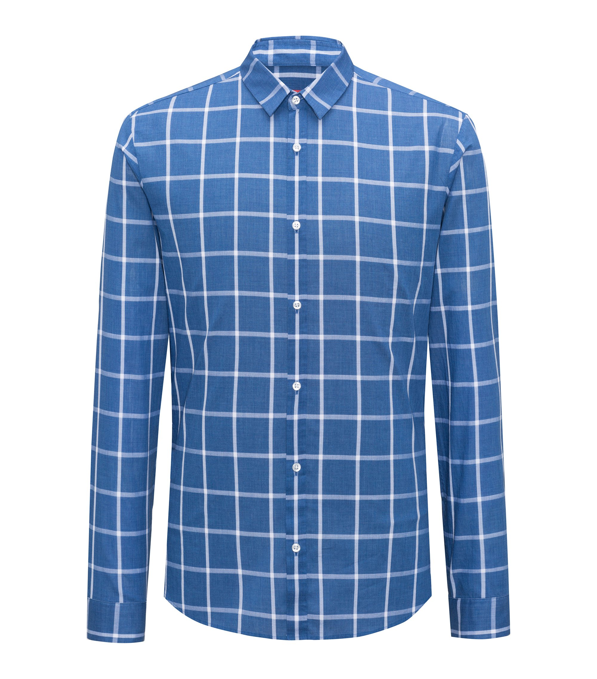Extra-slim-fit checked shirt in cotton, Blue