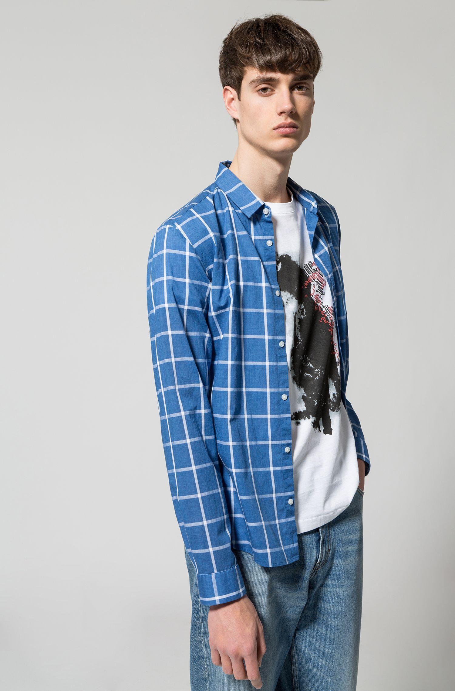 Kariertes Extra Slim-Fit Hemd aus Baumwolle