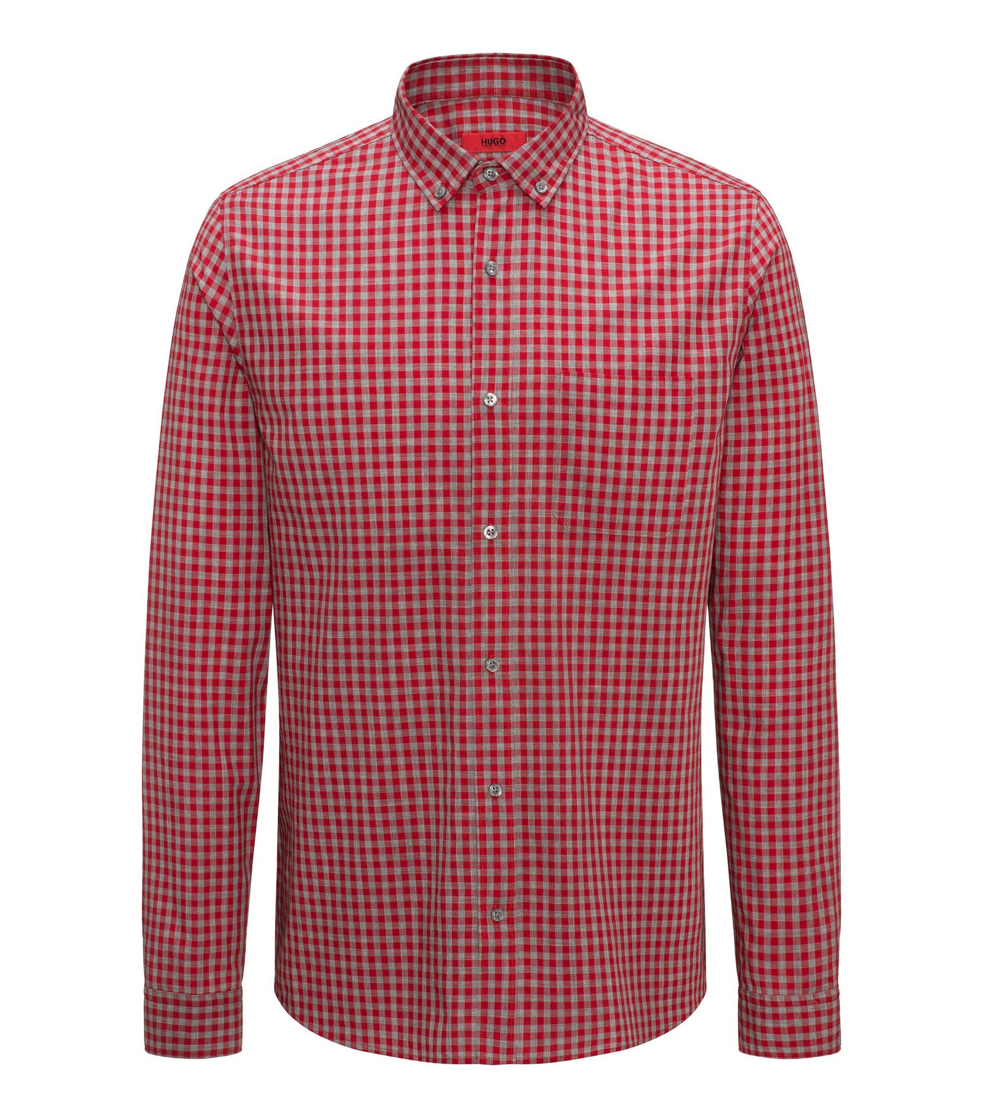 Relaxed-fit cotton shirt with a Vichy check, Red