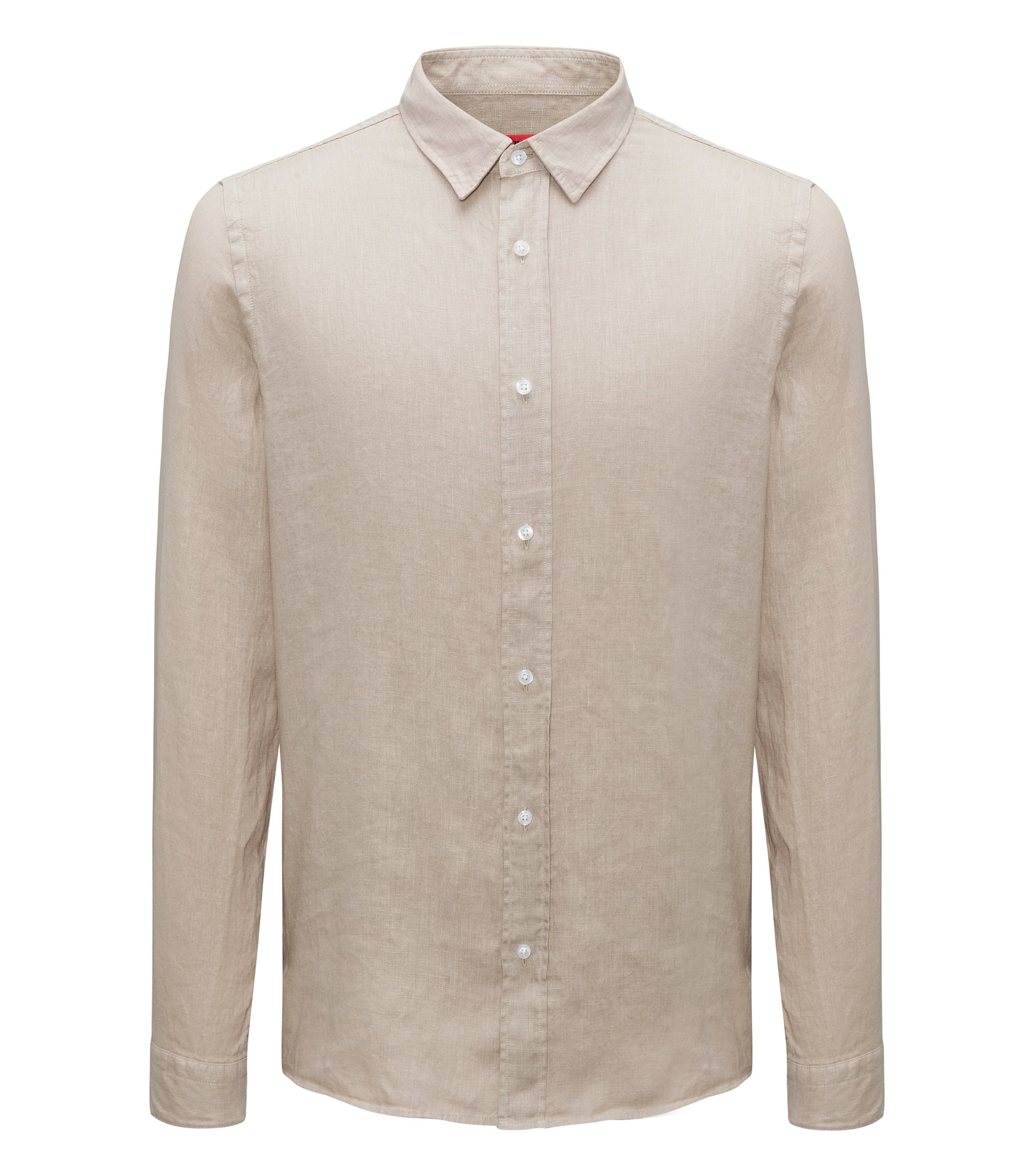 Camicia in lino relaxed fit, Beige
