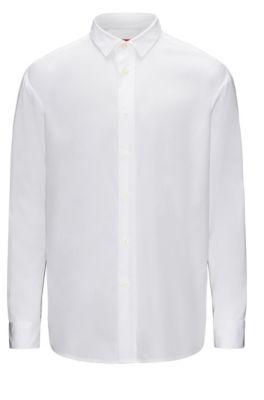 Relaxed-Fit Hemd aus Baumwolle mit kontrastfarbenen Einsätzen, Weiß