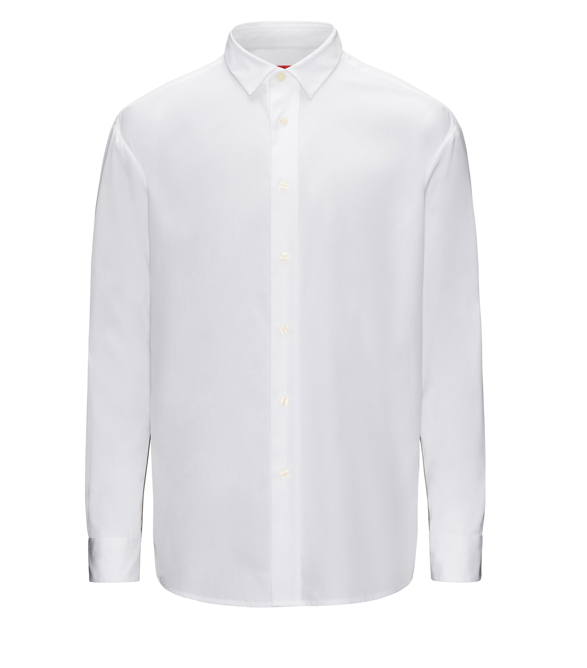 Relaxed-fit cotton shirt with contrast sleeve panels, Open White