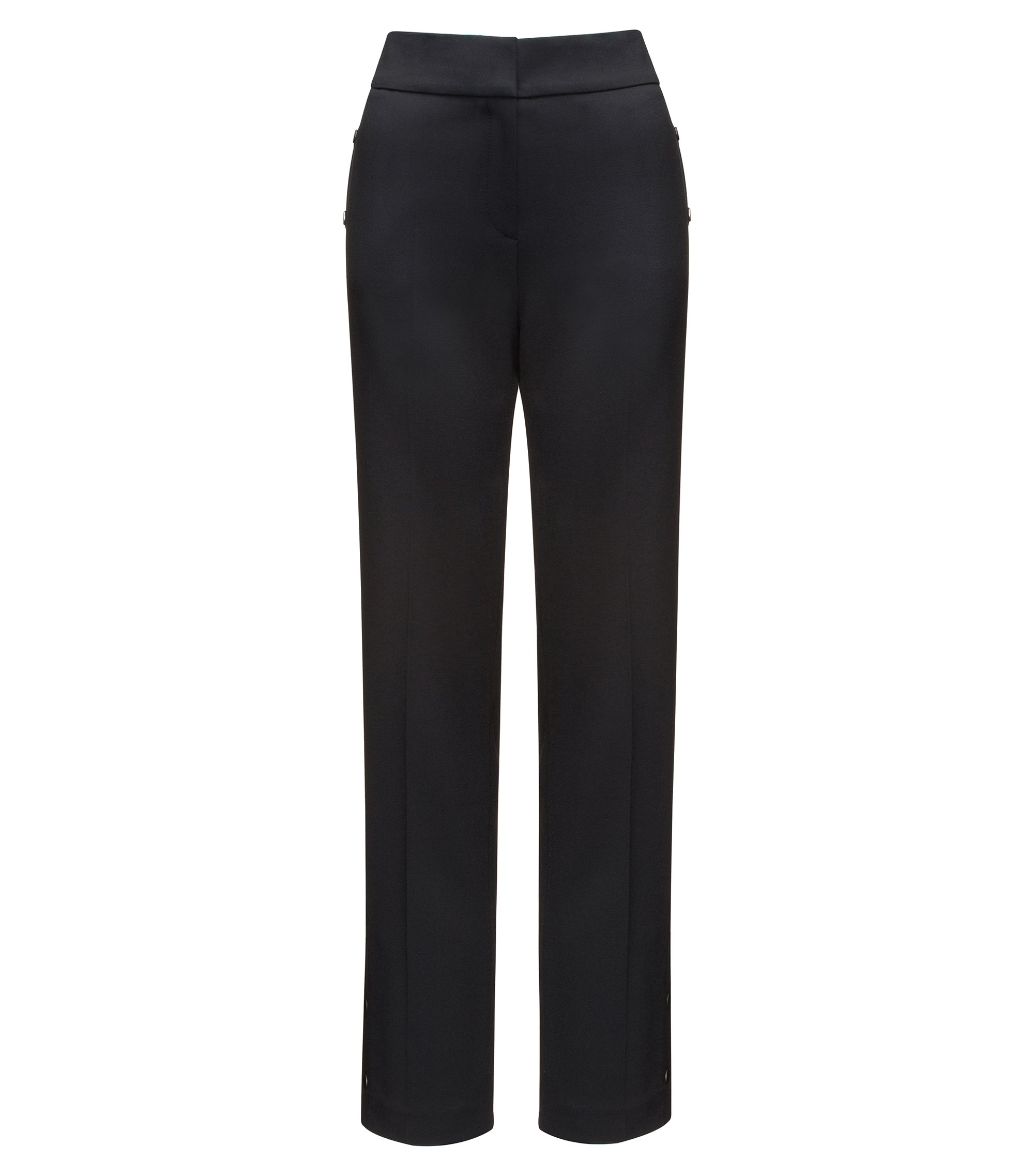 Relaxed-fit trousers with press-stud side seams, Black