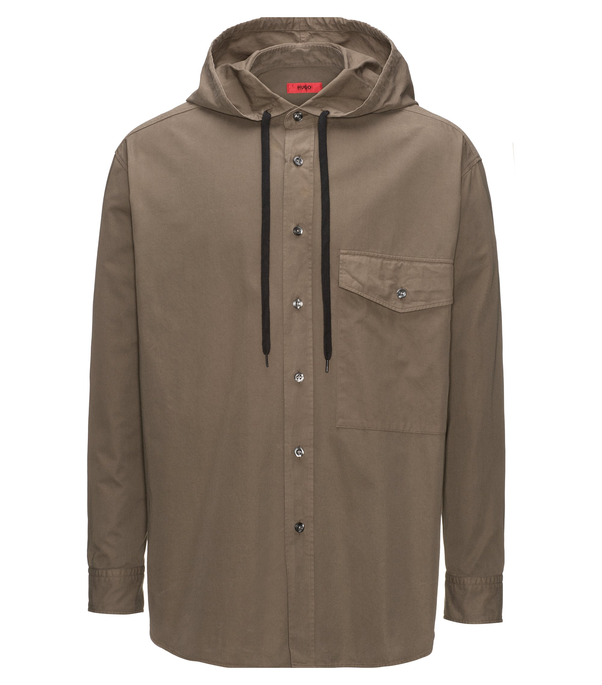 Relaxed-fit cotton shirt with hooded collar, Brown