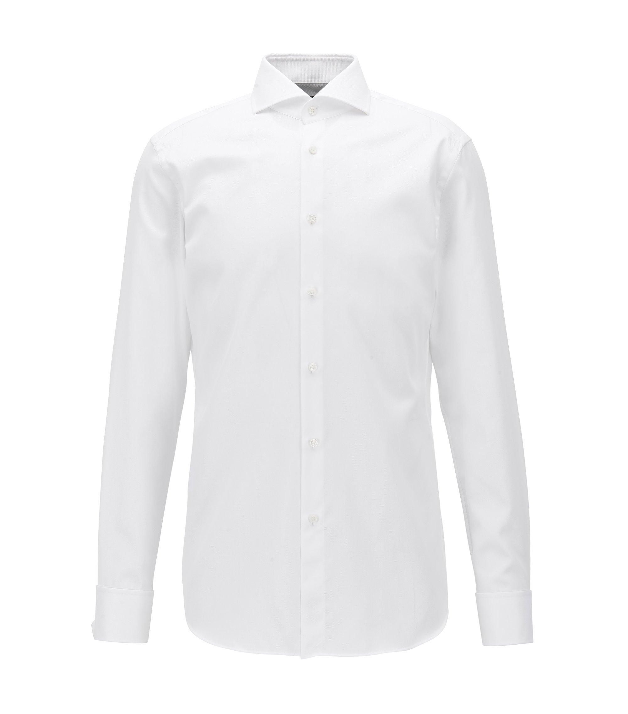 Slim-fit cotton shirt with double cuffs, White