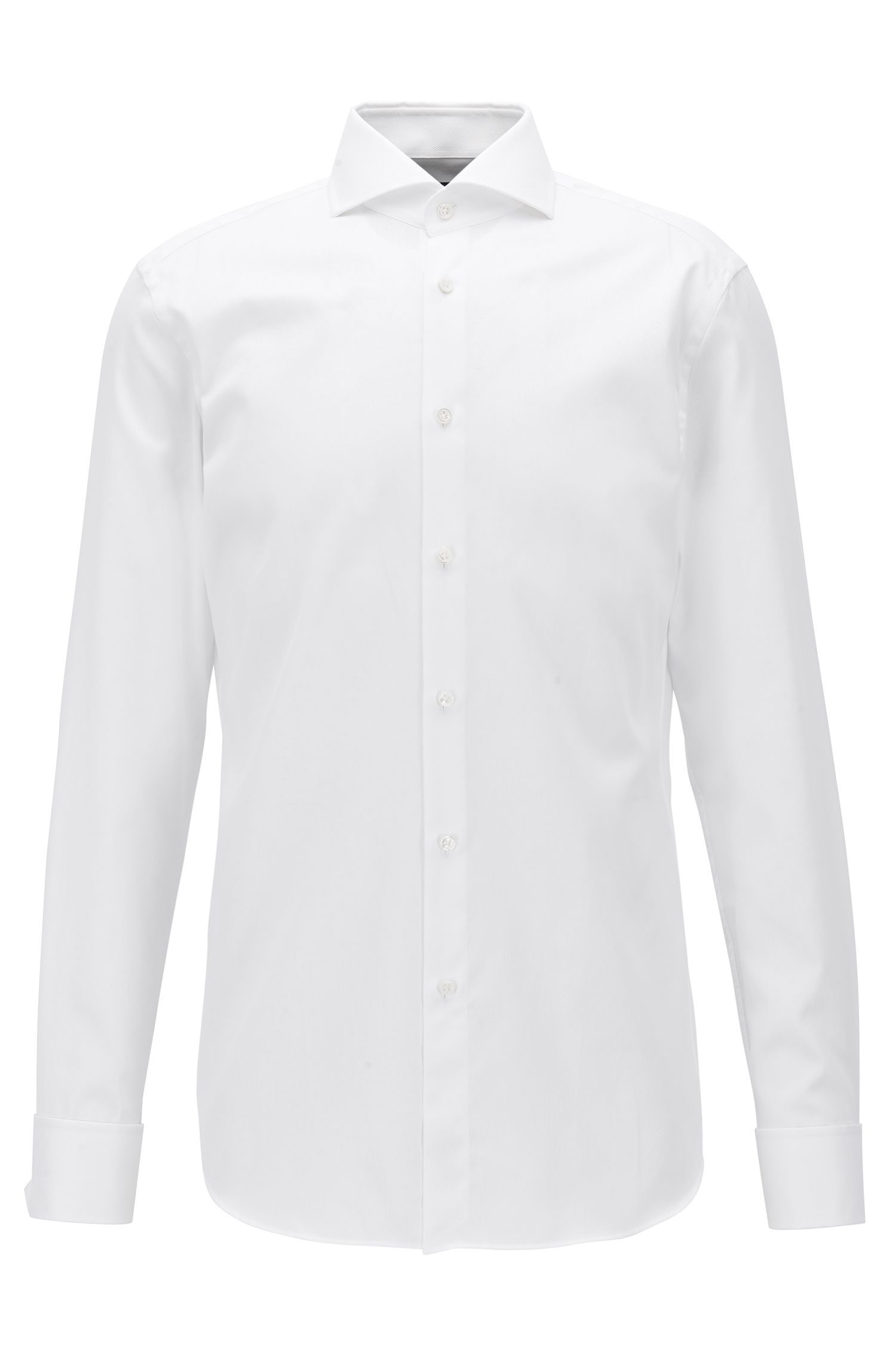 Slim-fit cotton shirt with double cuffs