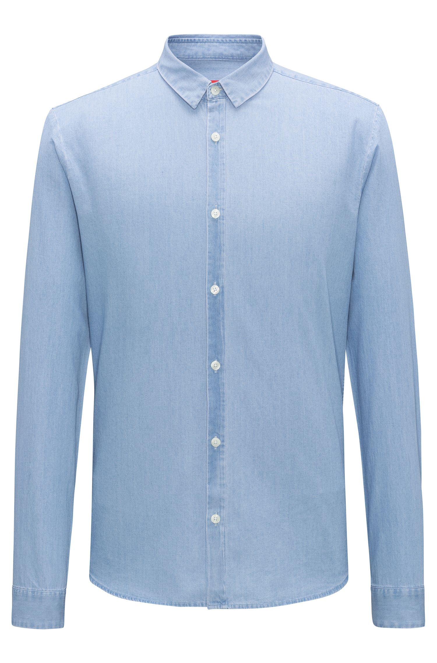 Extra-slim-fit shirt in bleached indigo denim