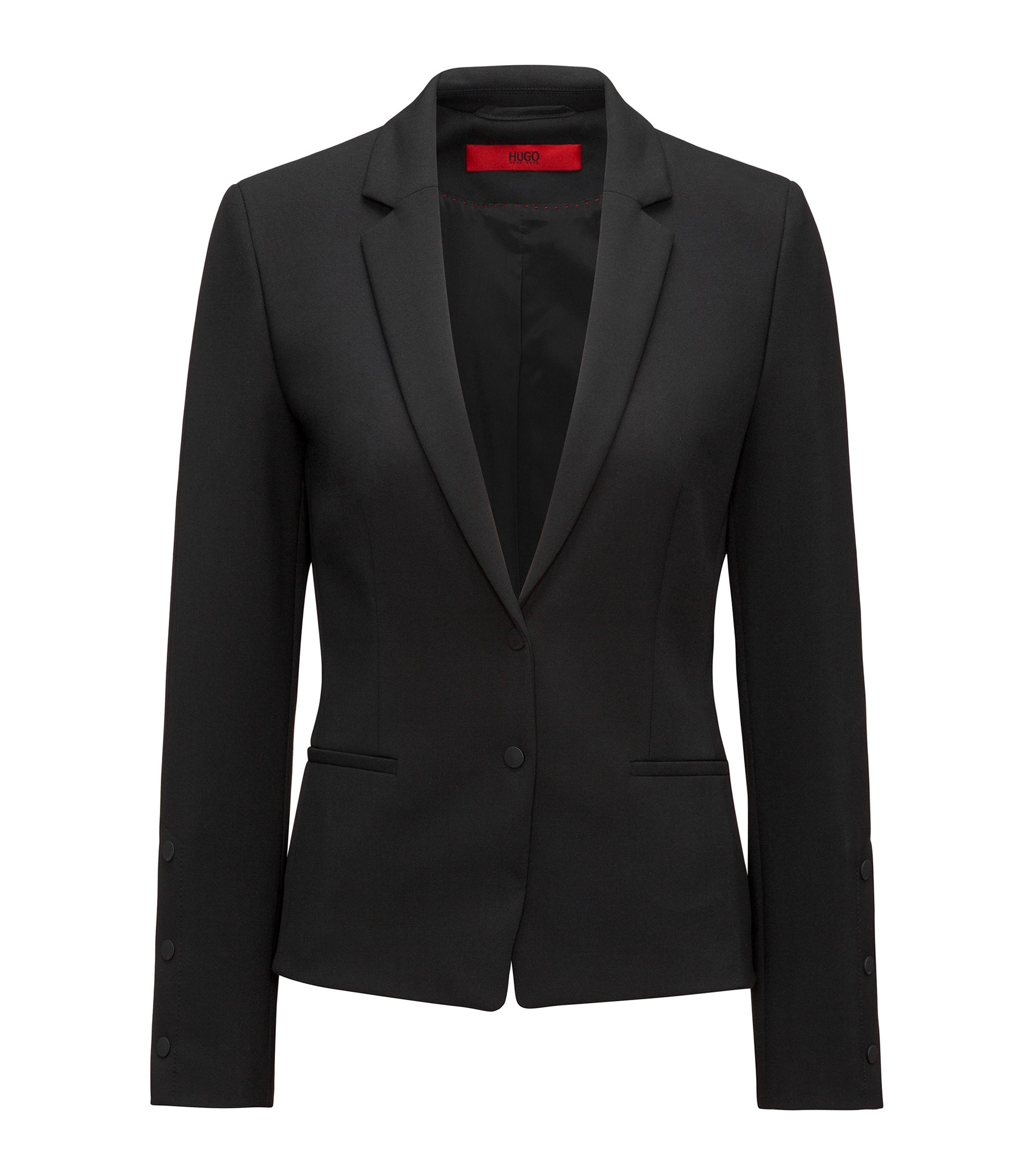 Regular-fit jacket with press-stud details, Black