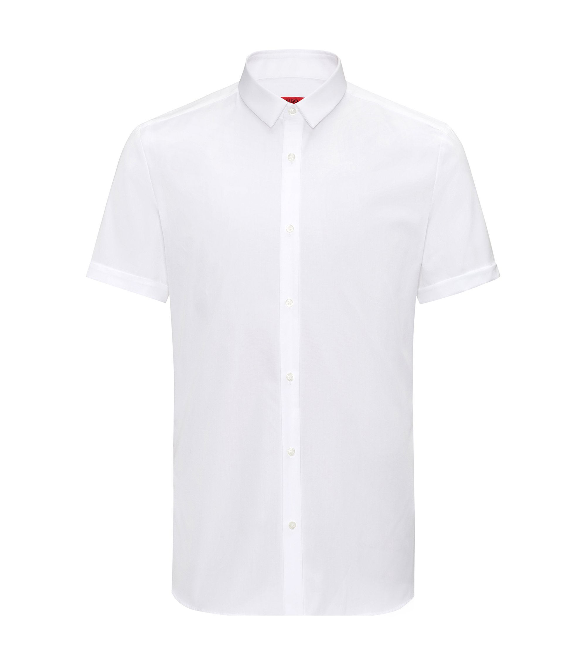 Extra-slim-fit short-sleeved shirt in pure cotton, White