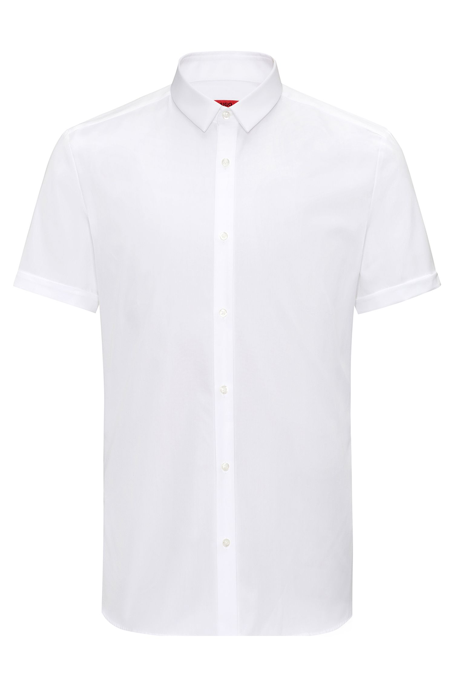 Extra-slim-fit short-sleeved shirt in pure cotton