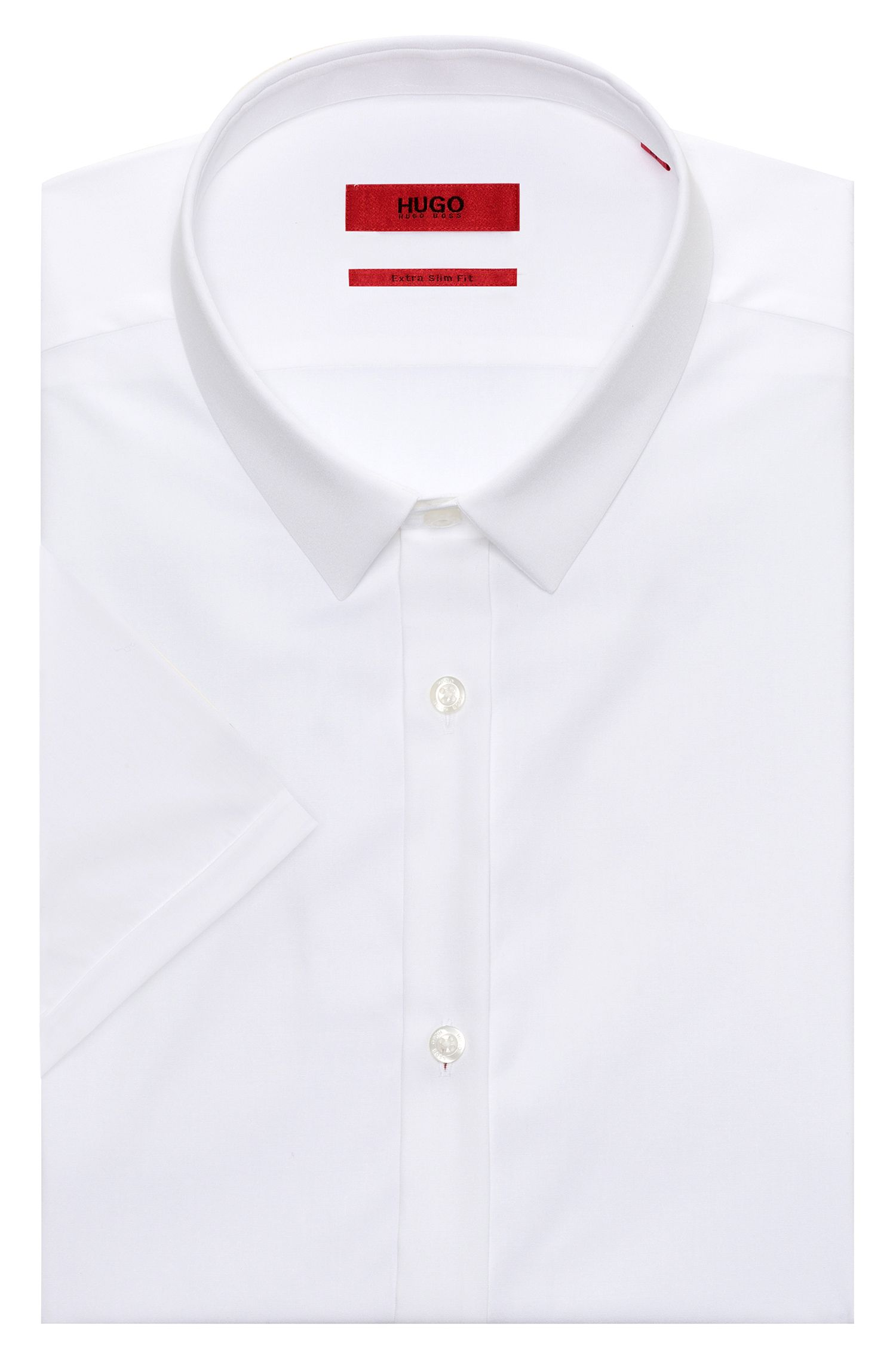 Camisa de manga corta extra slim fit en puro algodón