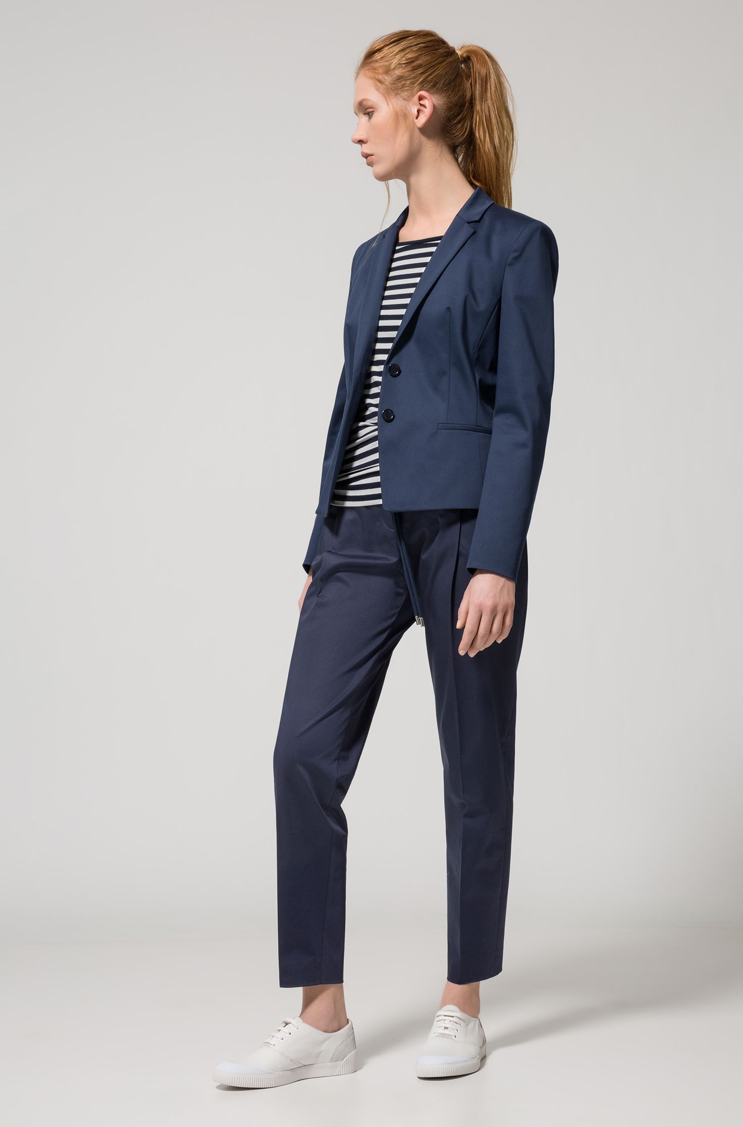Relaxed-fit tailored trousers in stretch cotton