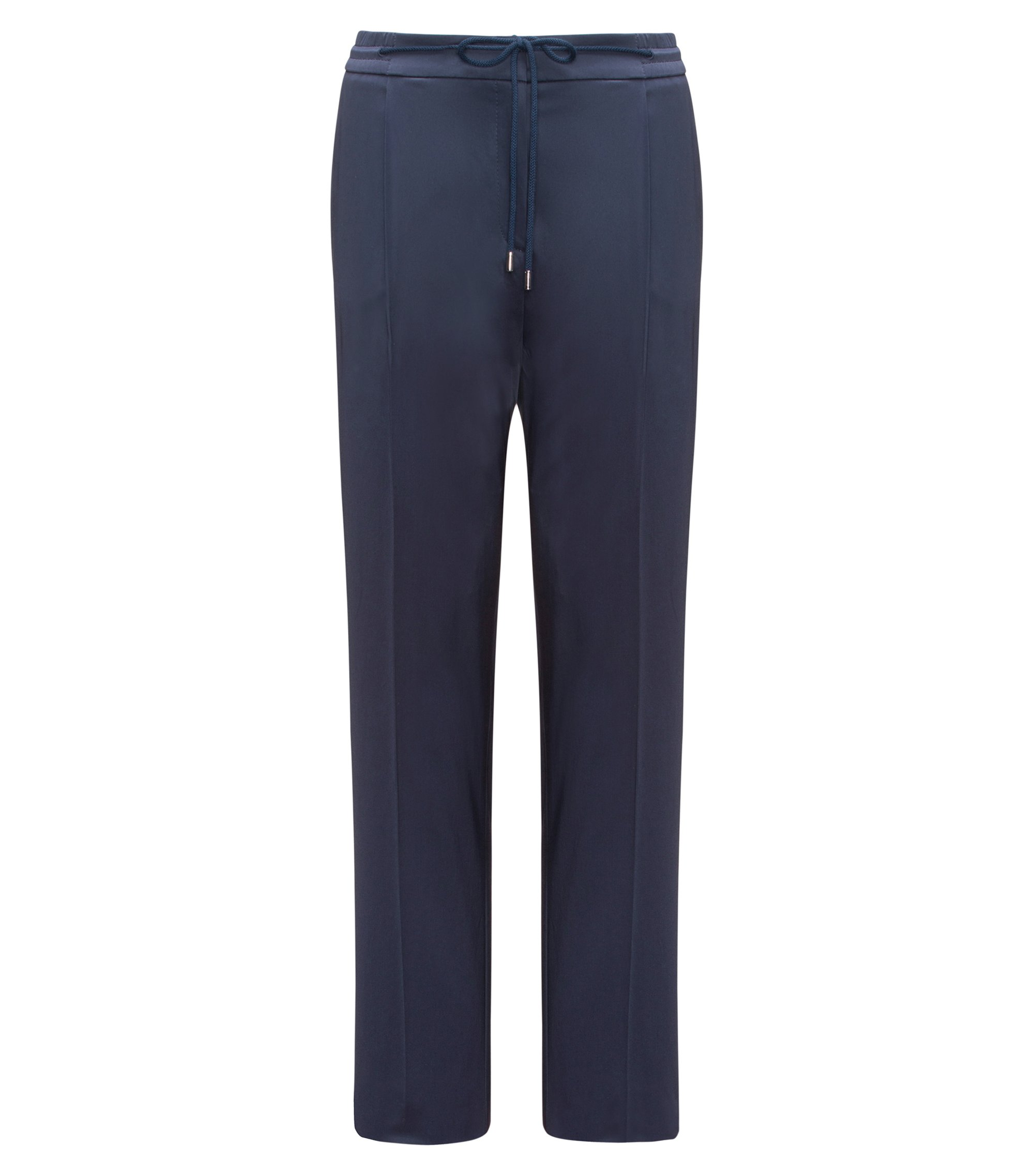 Relaxed-fit tailored trousers in stretch cotton, Dark Blue
