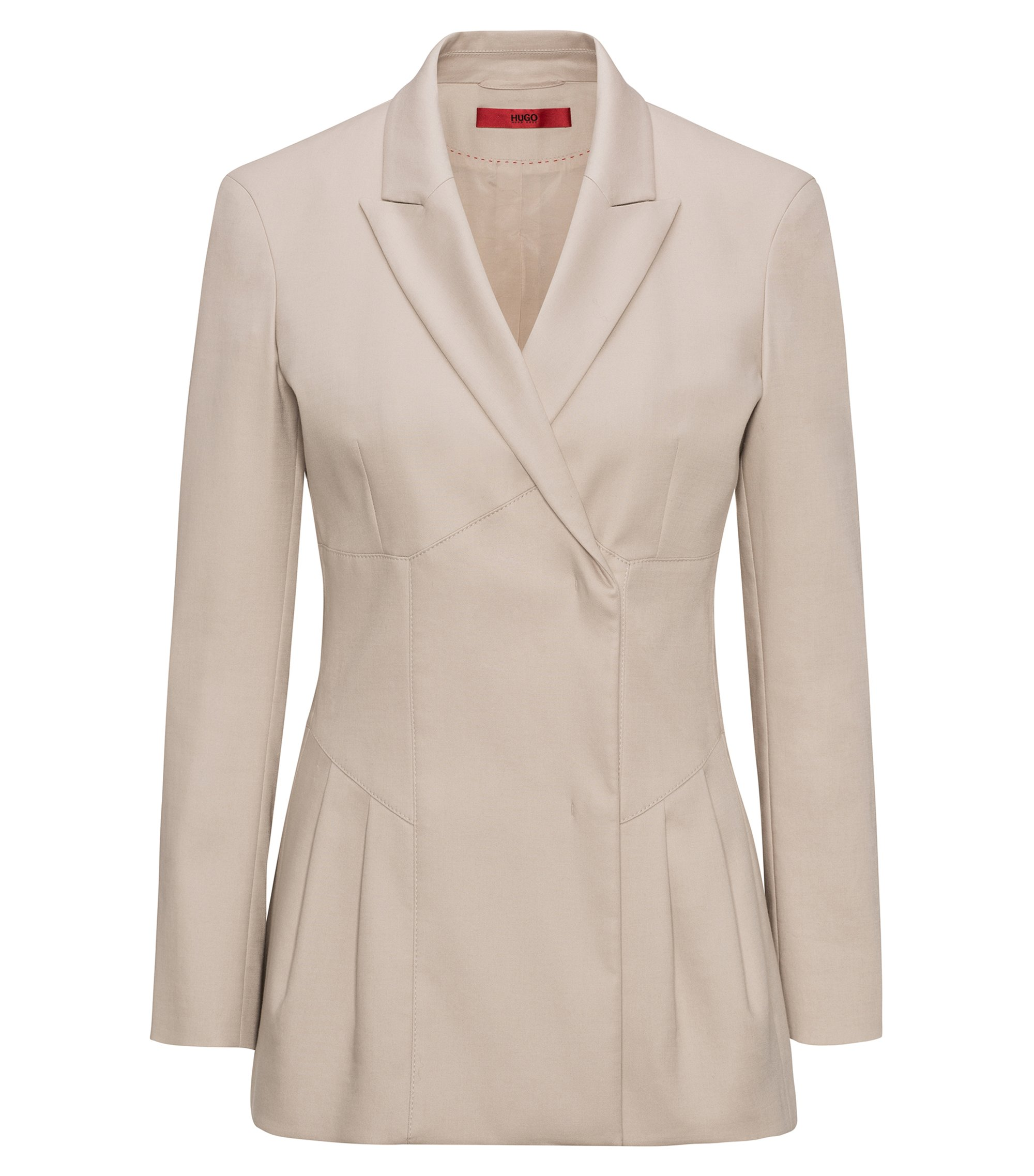 Pleat detail jacket in stretch-cotton gabardine, Beige