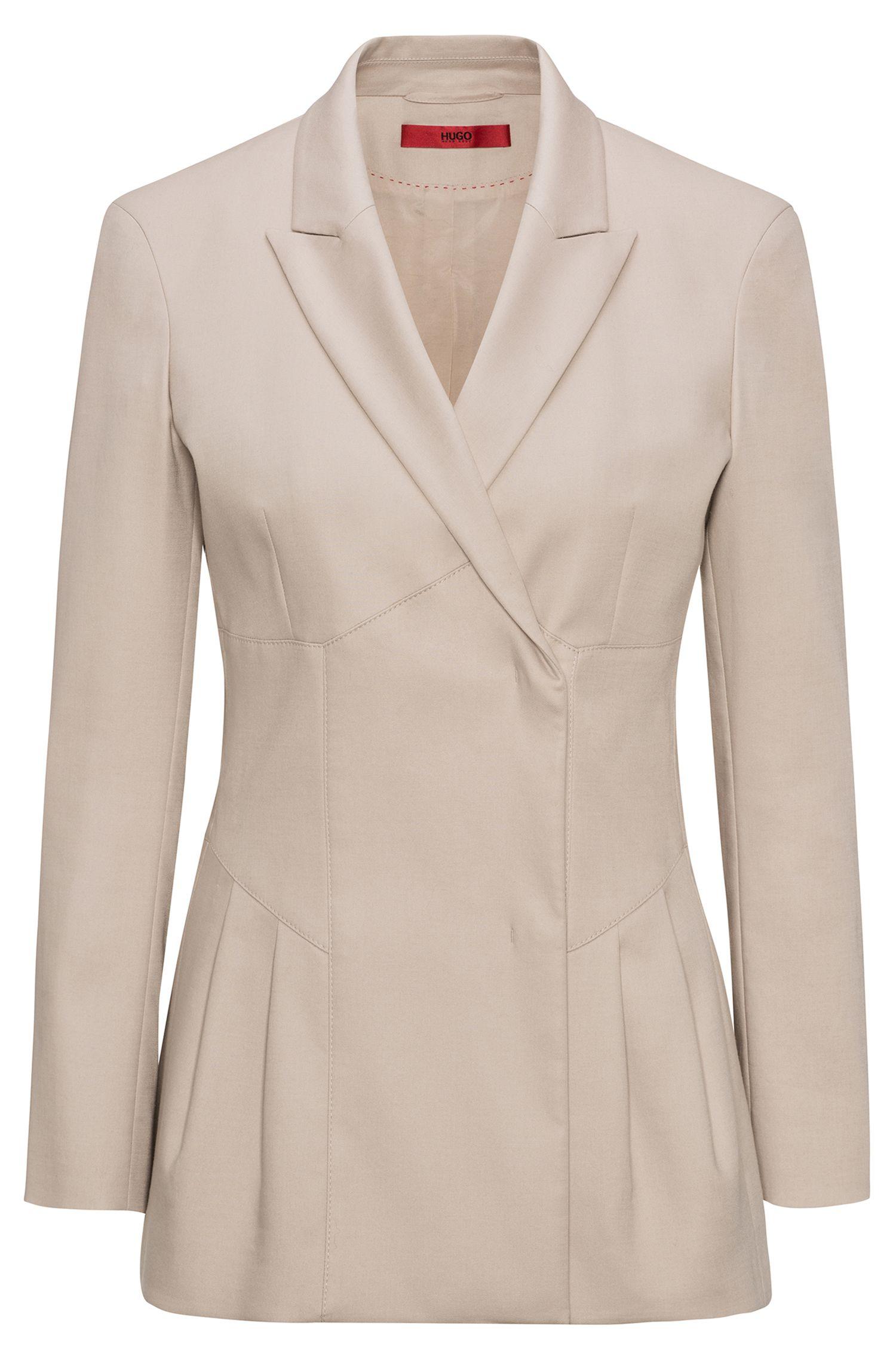 Veste en gabardine de coton stretch à détail plissé