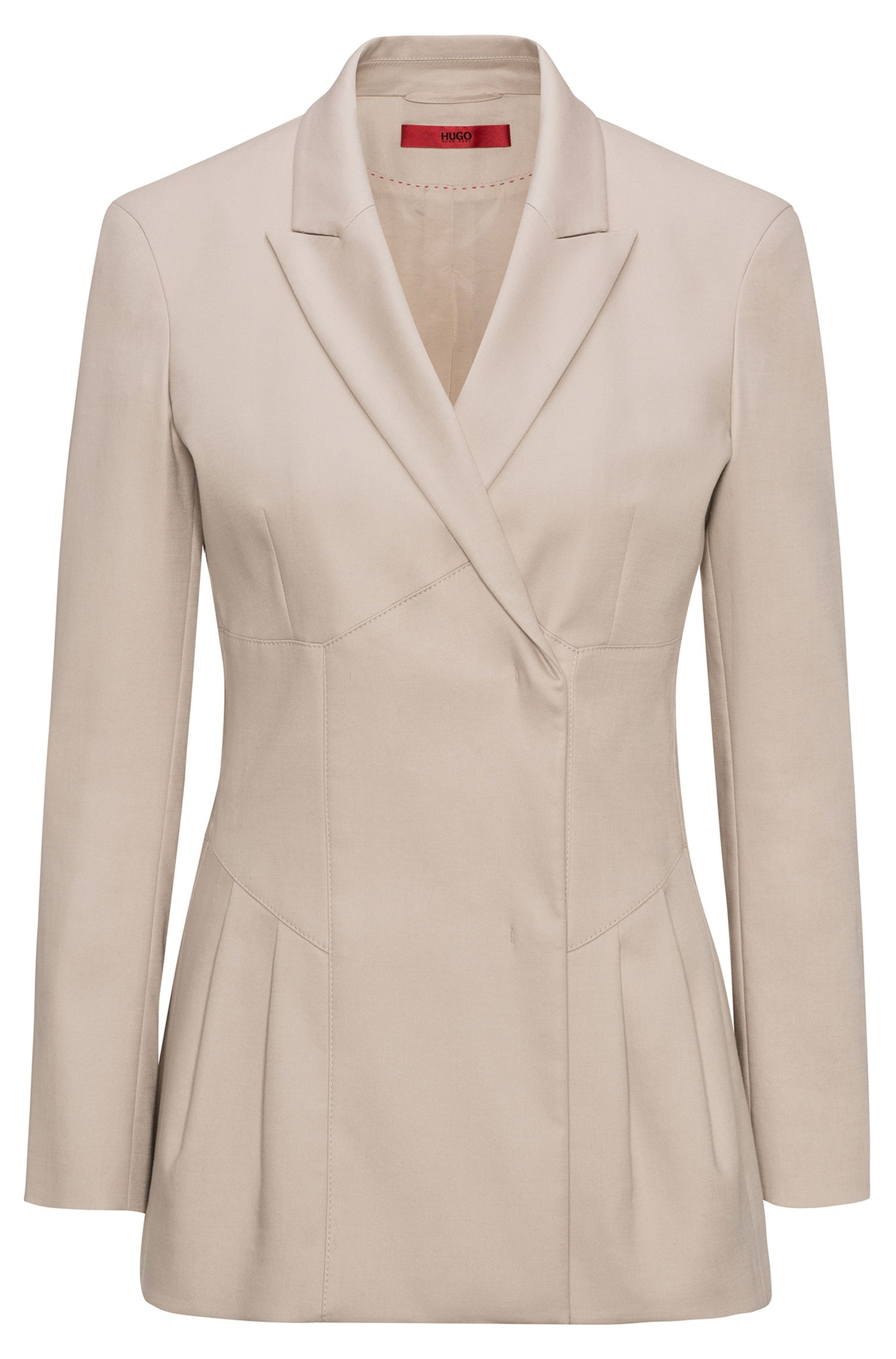 Pleat detail jacket in stretch-cotton gabardine