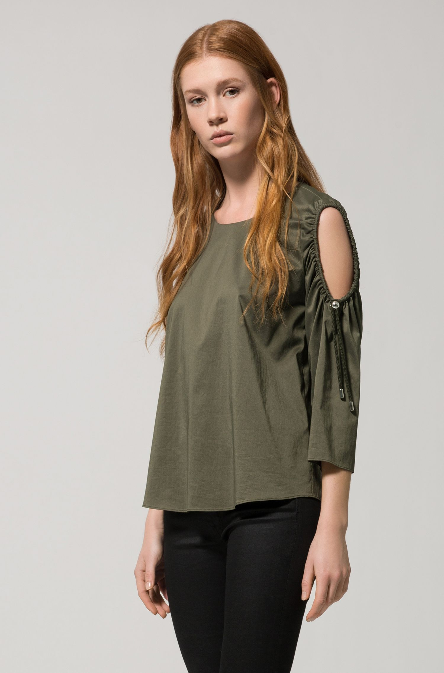 Cold-shoulder cotton-blend top with drawstring sleeves