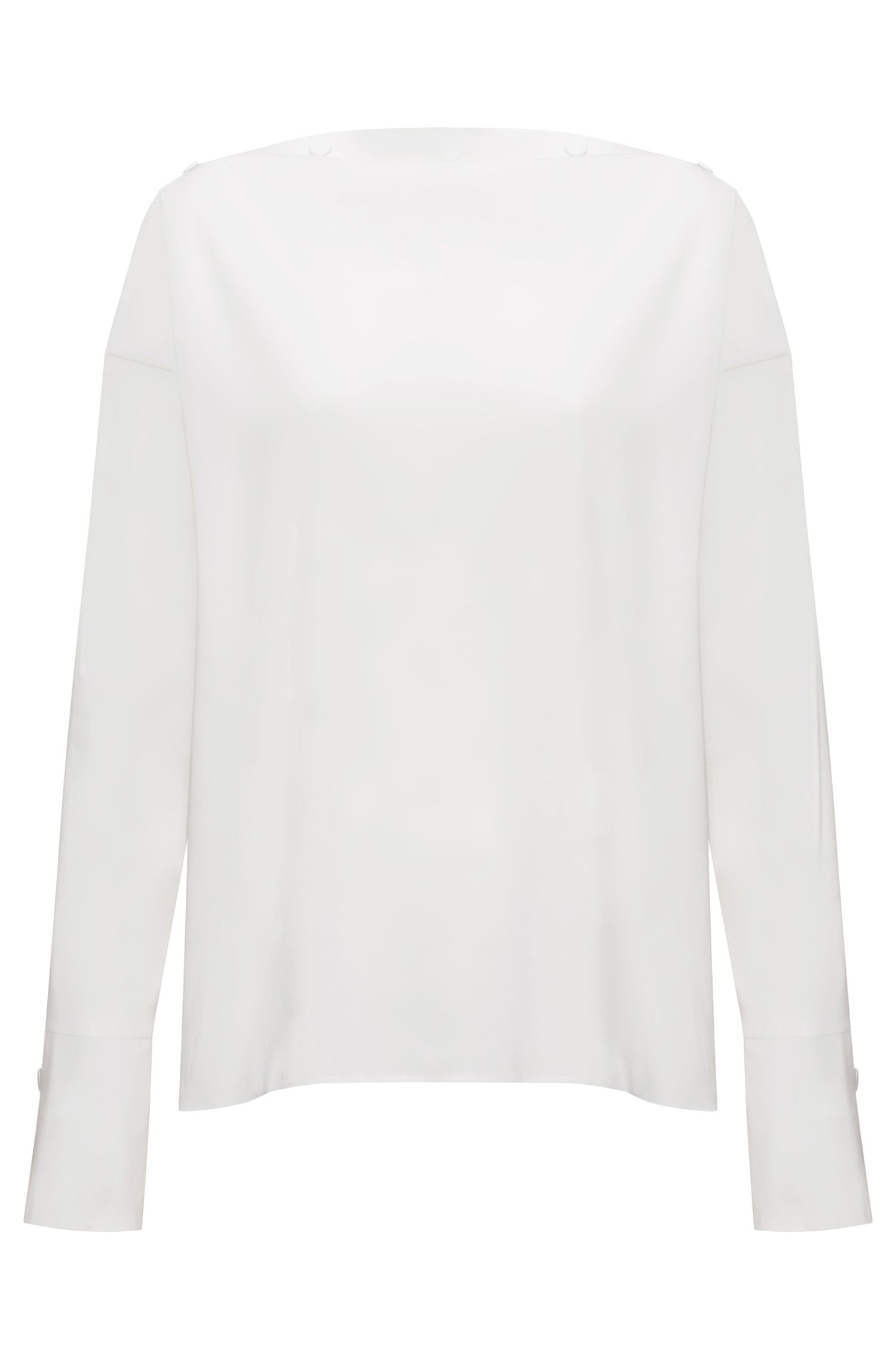 Button-neckline top in a cotton blend