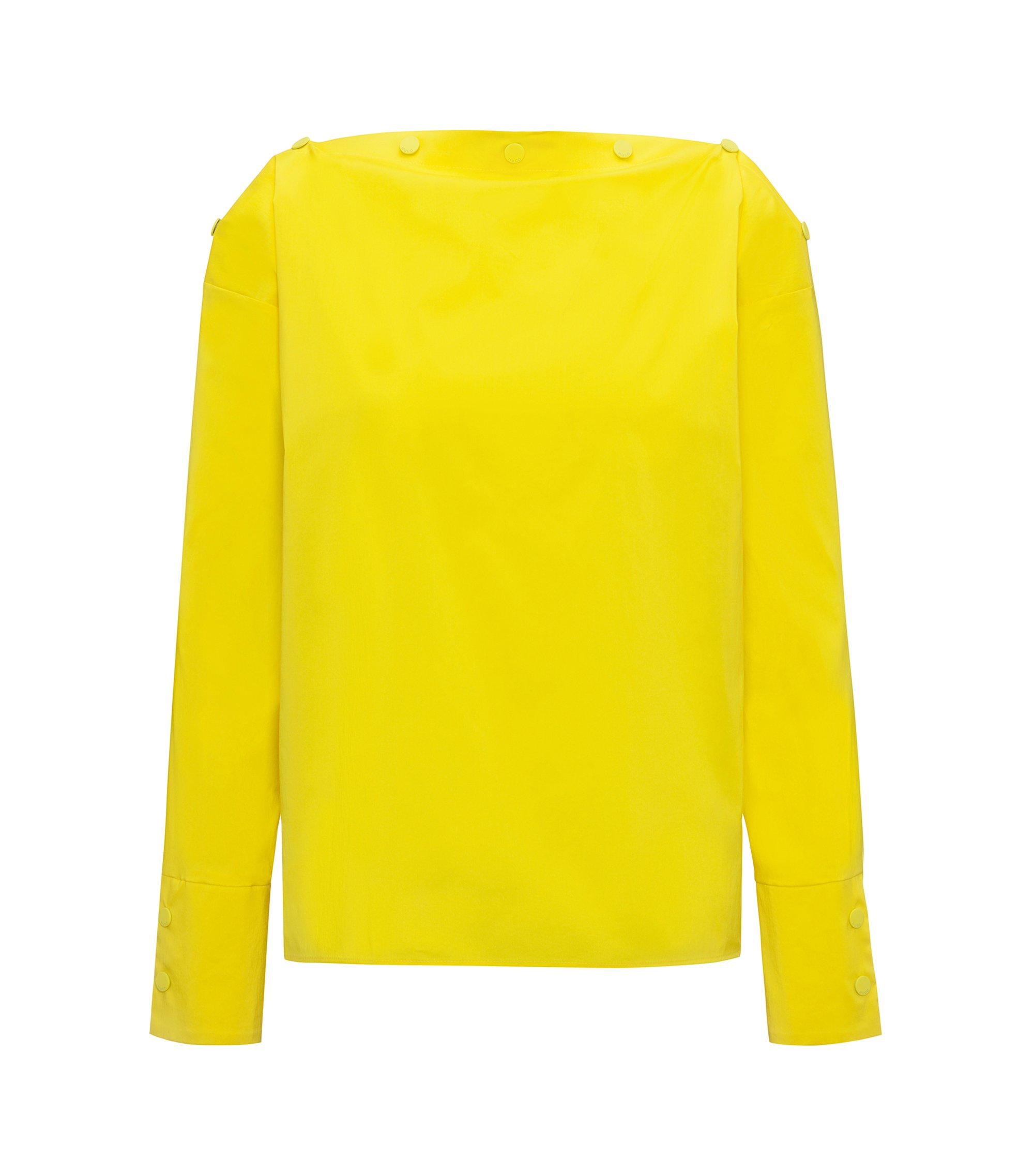 Button-neckline top in a cotton blend, Yellow