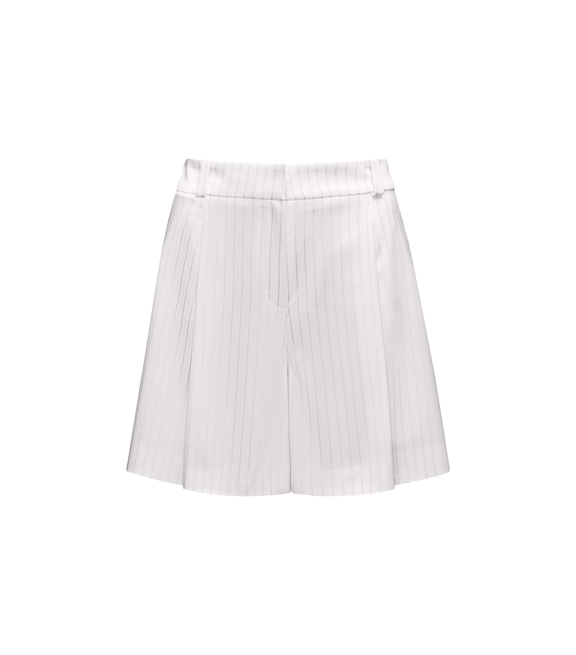 Short met hoge taille en metallic strepen, Naturel