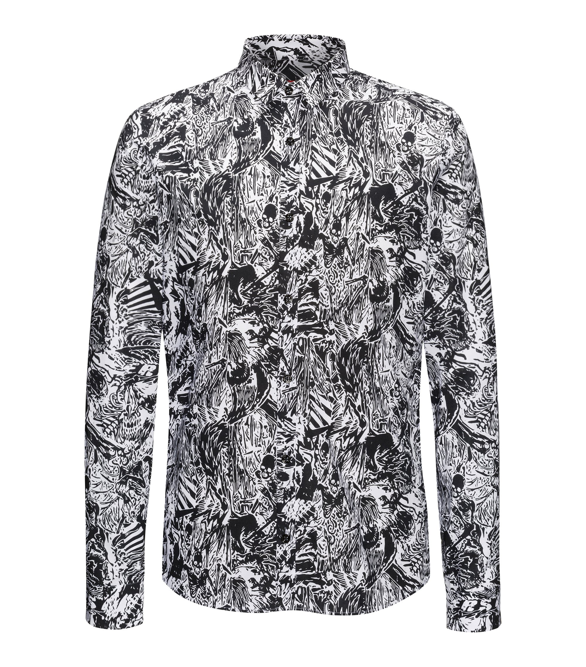 Extra-slim-fit cotton shirt in Hawaiian skeletons print, Black