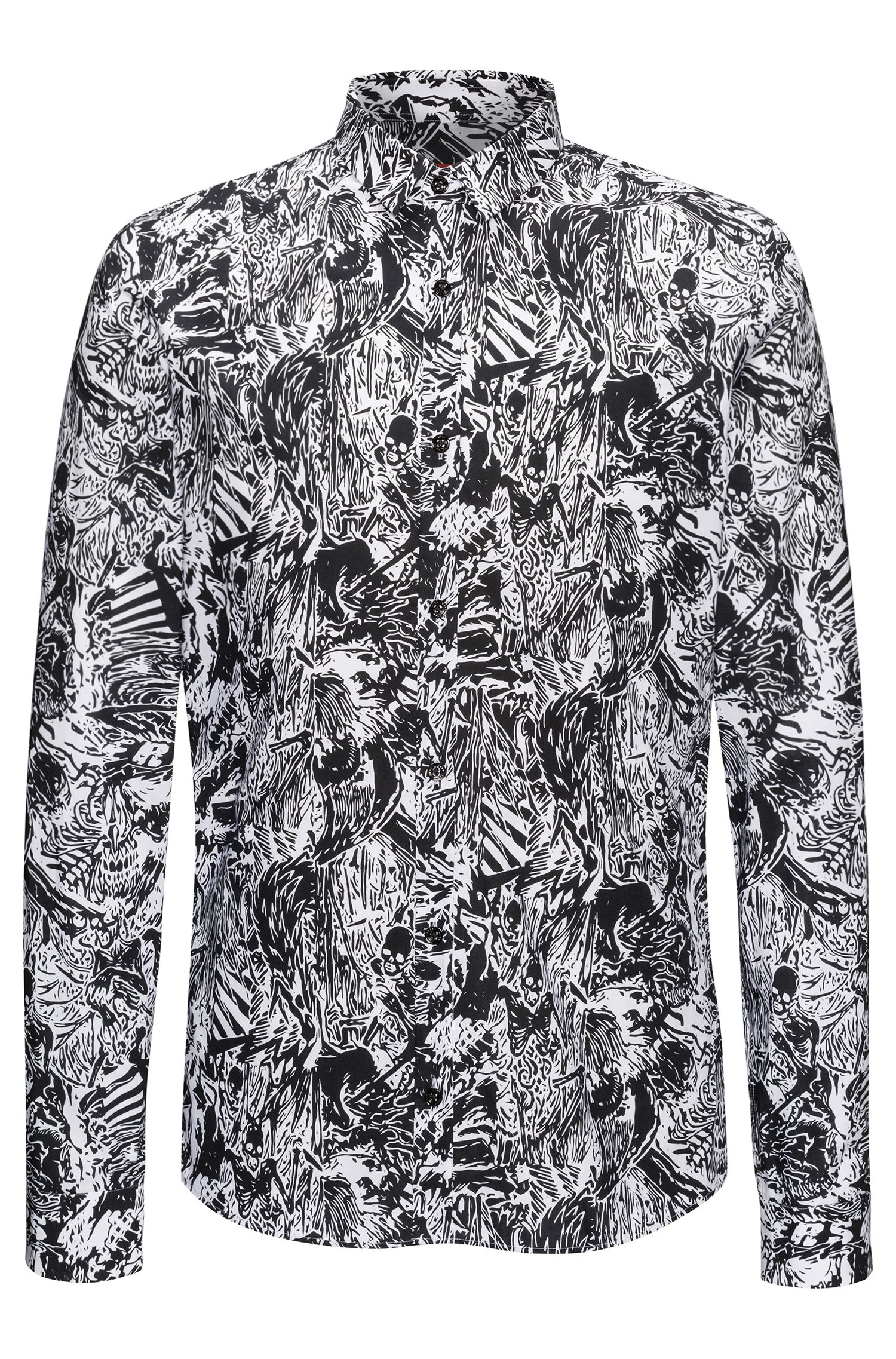 Extra-slim-fit cotton shirt in Hawaiian skeletons print