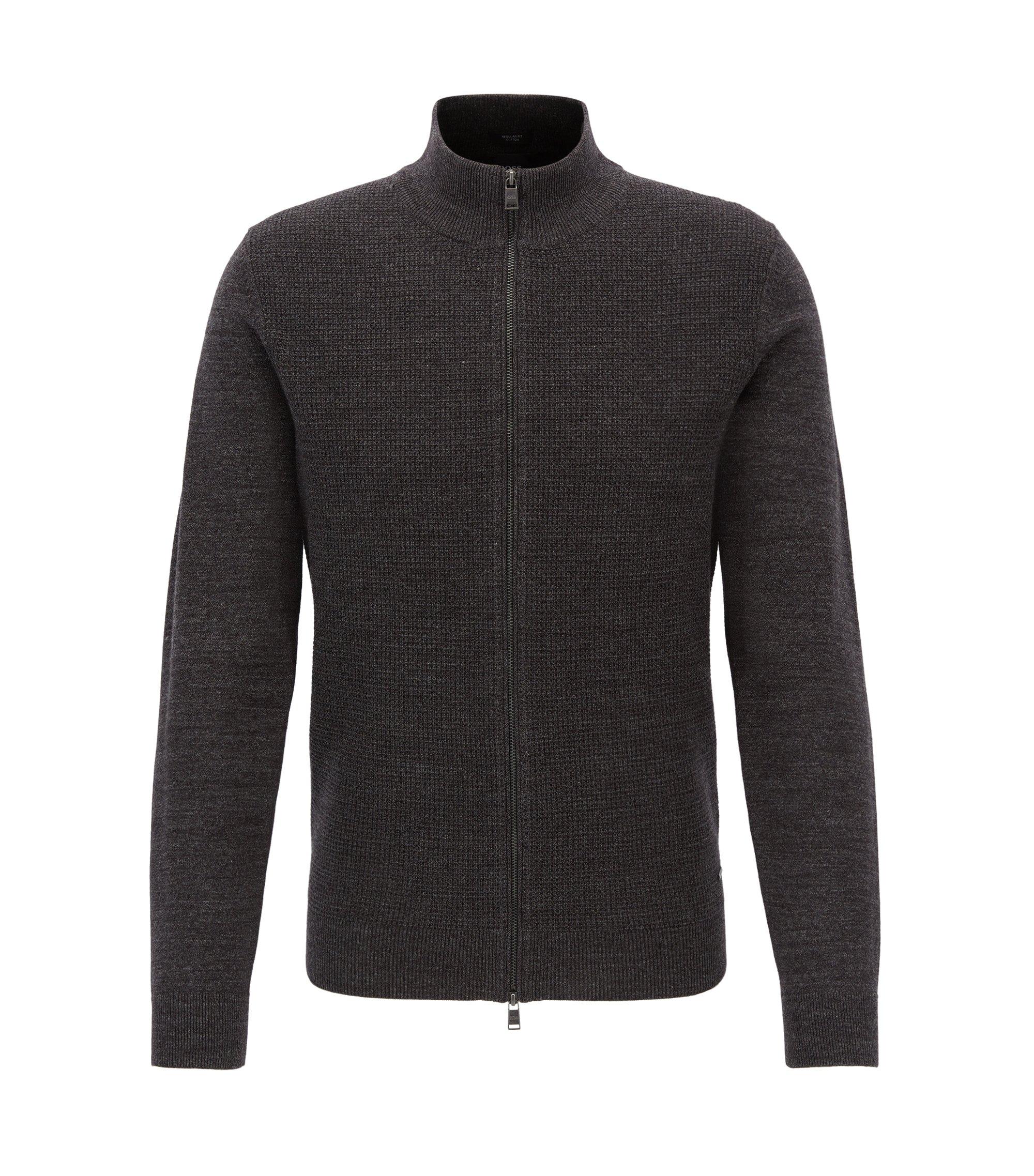 Zip-through cardigan jacket in mélange cotton, Dark Grey