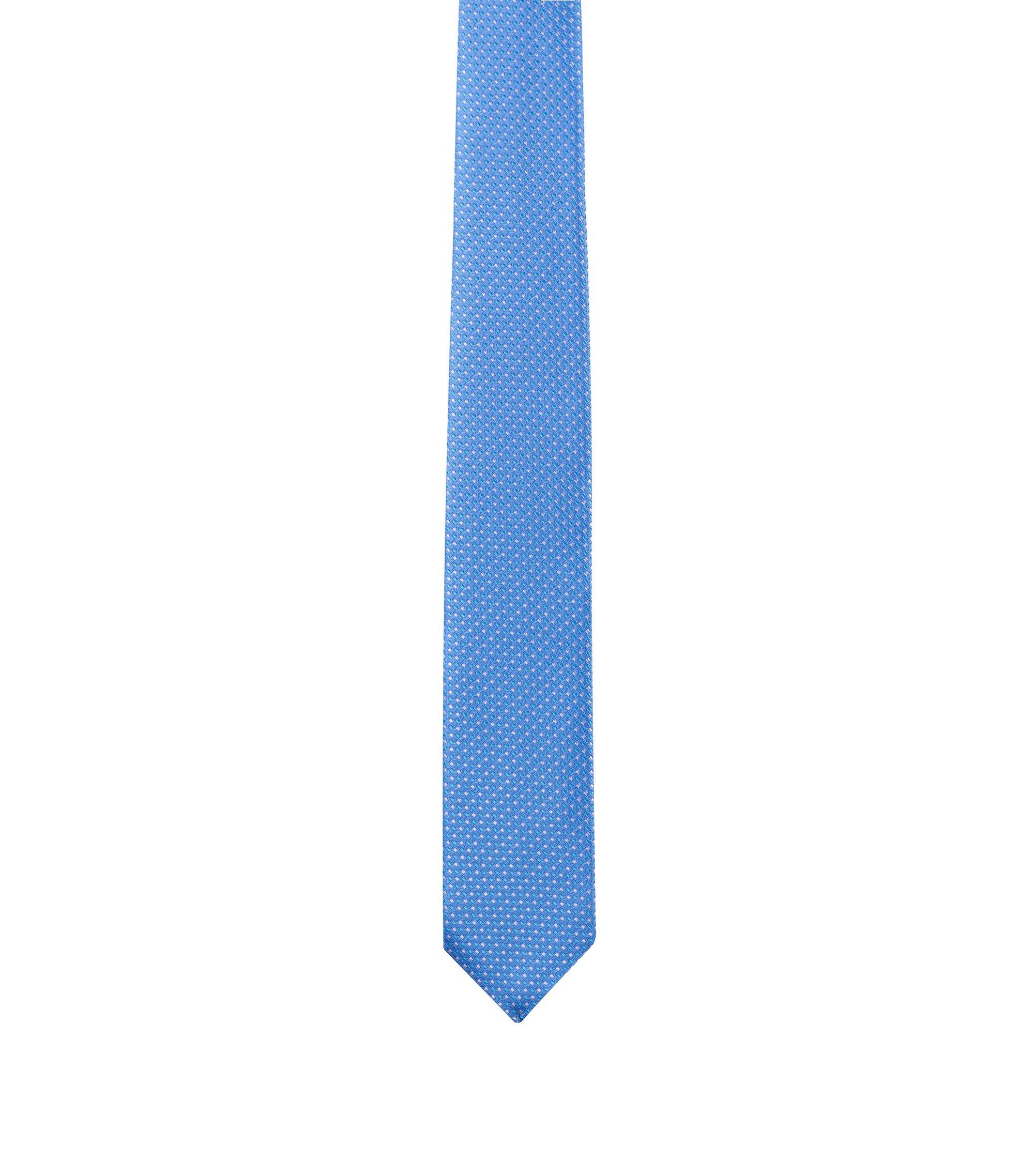 Patterned tie in silk jacquard, Light Blue