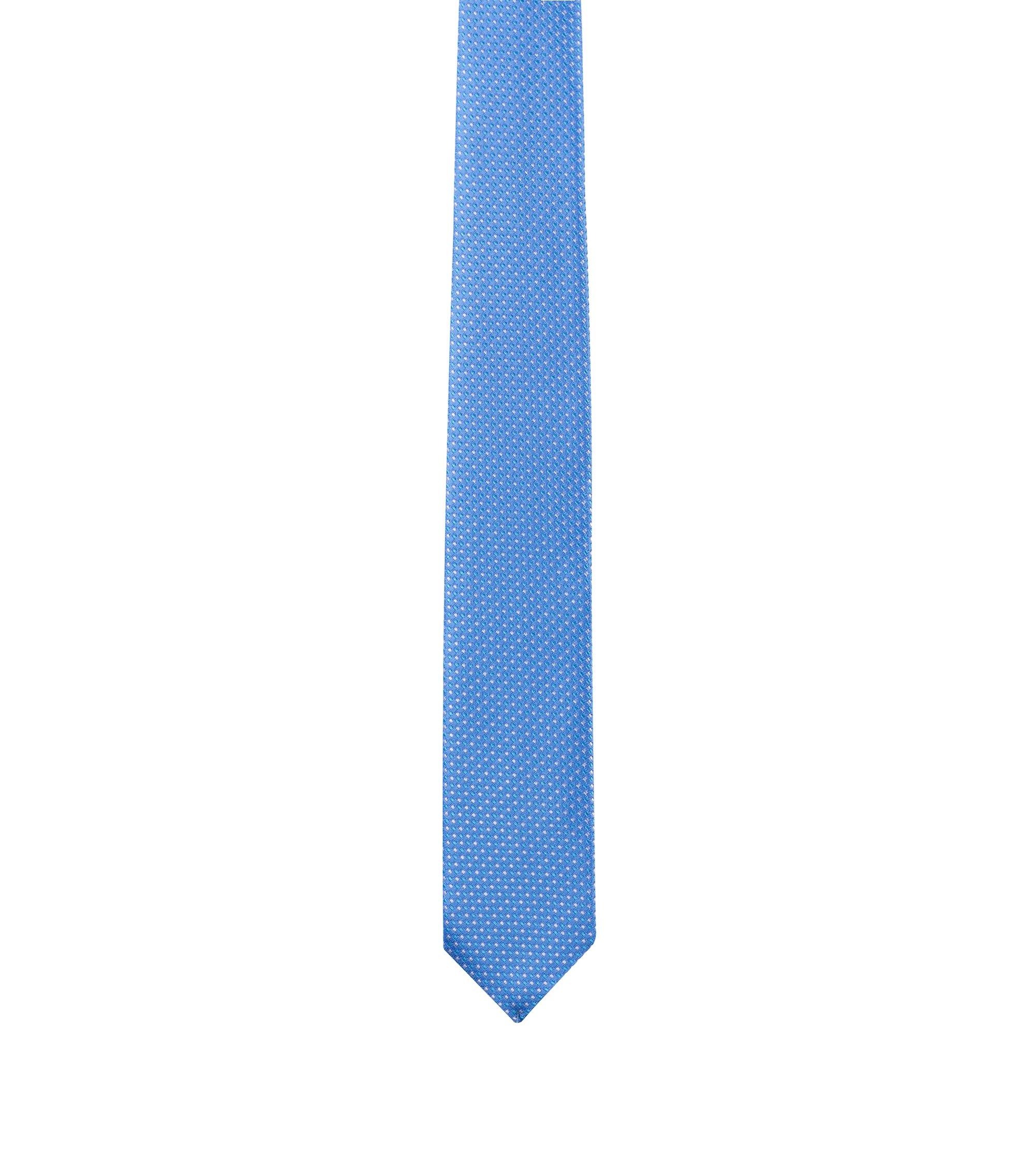 Cravatta a disegni in seta jacquard, Celeste