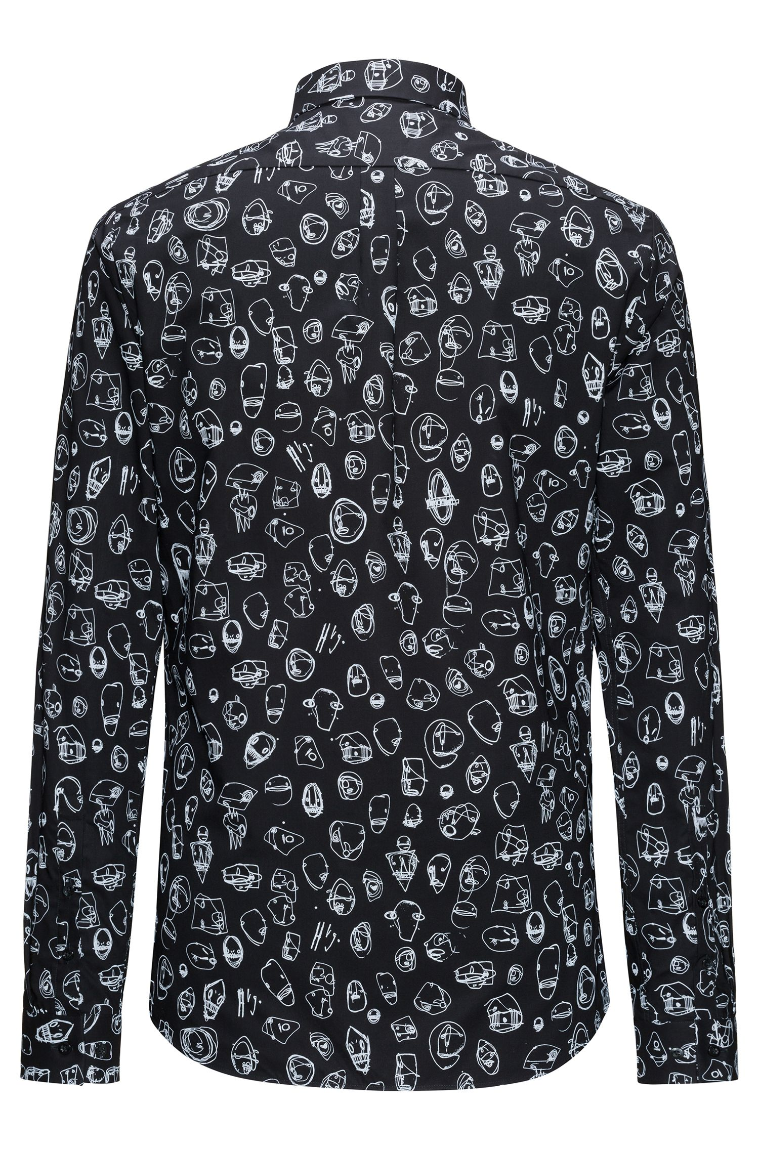 Slim-fit cotton shirt with urban print