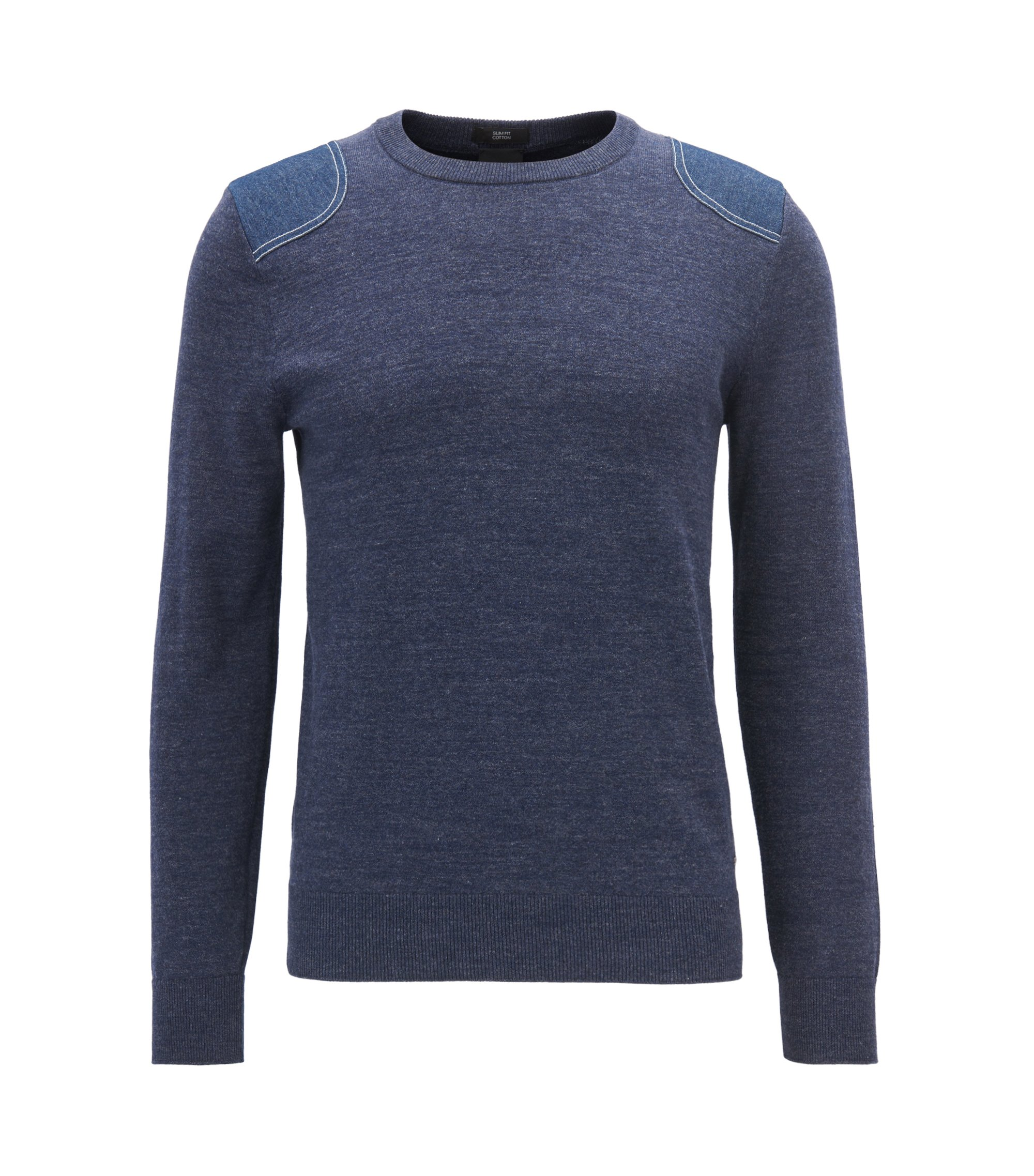 Knitted cotton sweater with French stitching, Dark Blue