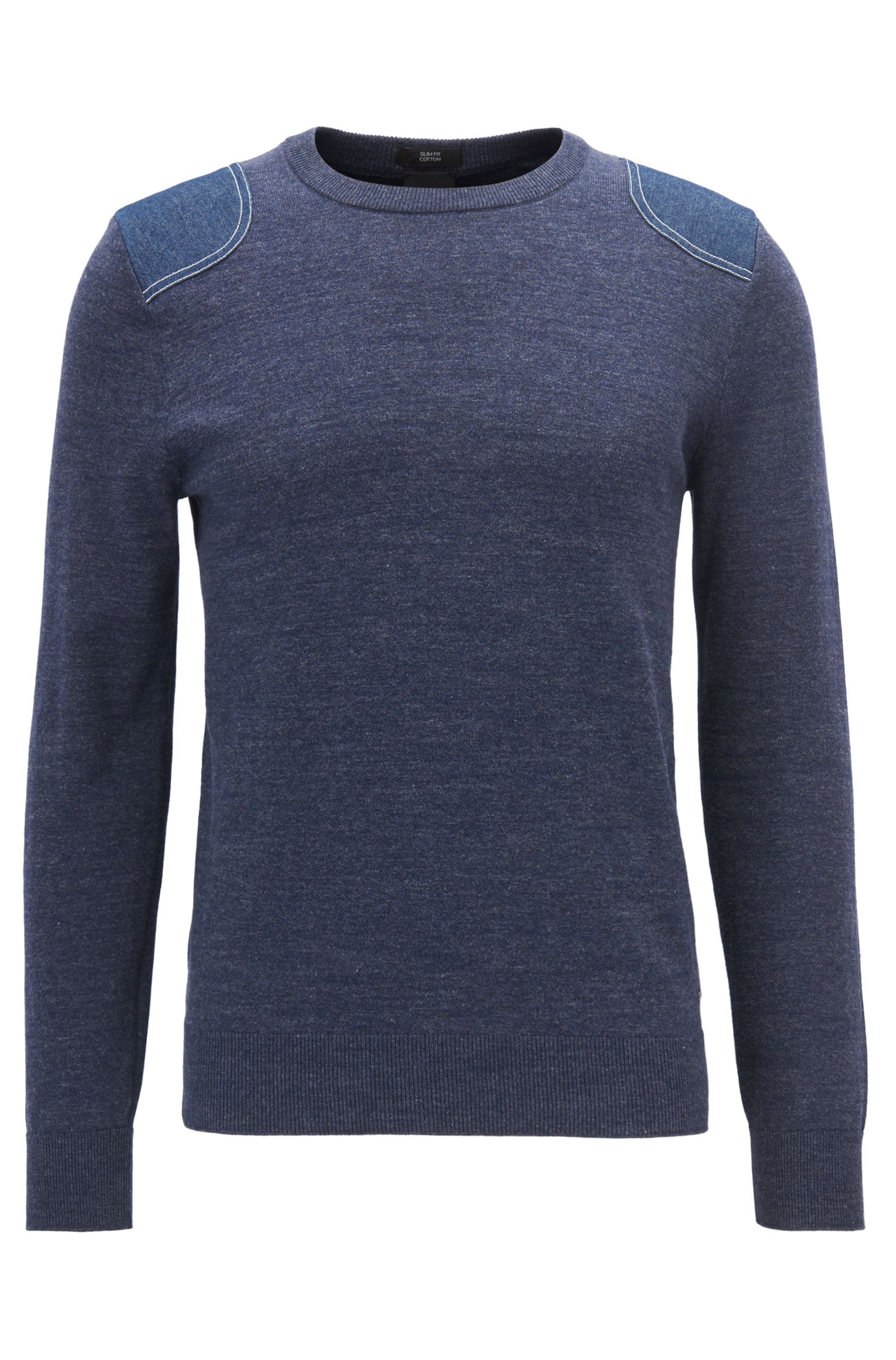 Knitted cotton sweater with French stitching