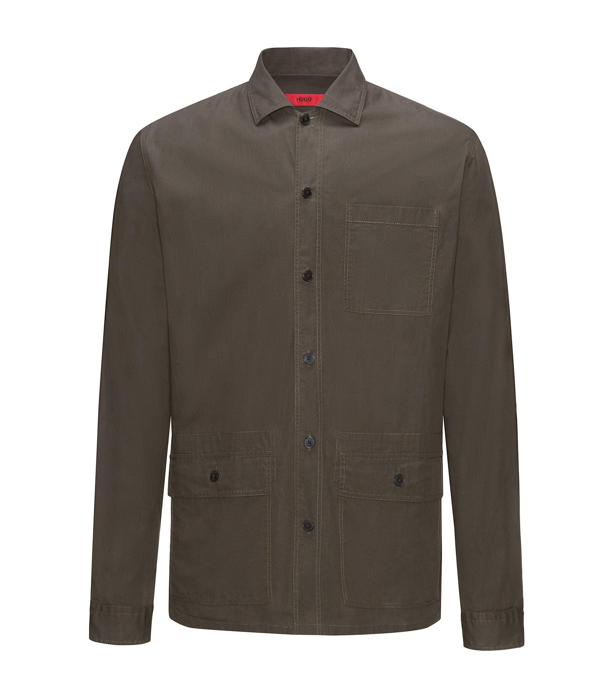 Relaxed-fit overhemd van gewaxte katoen met opgezette zakken, Bruin