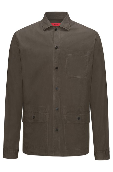 HUGO BOSS Chemise Relaxed Fit en coton enduit avec poches plaquées LWCSIbD