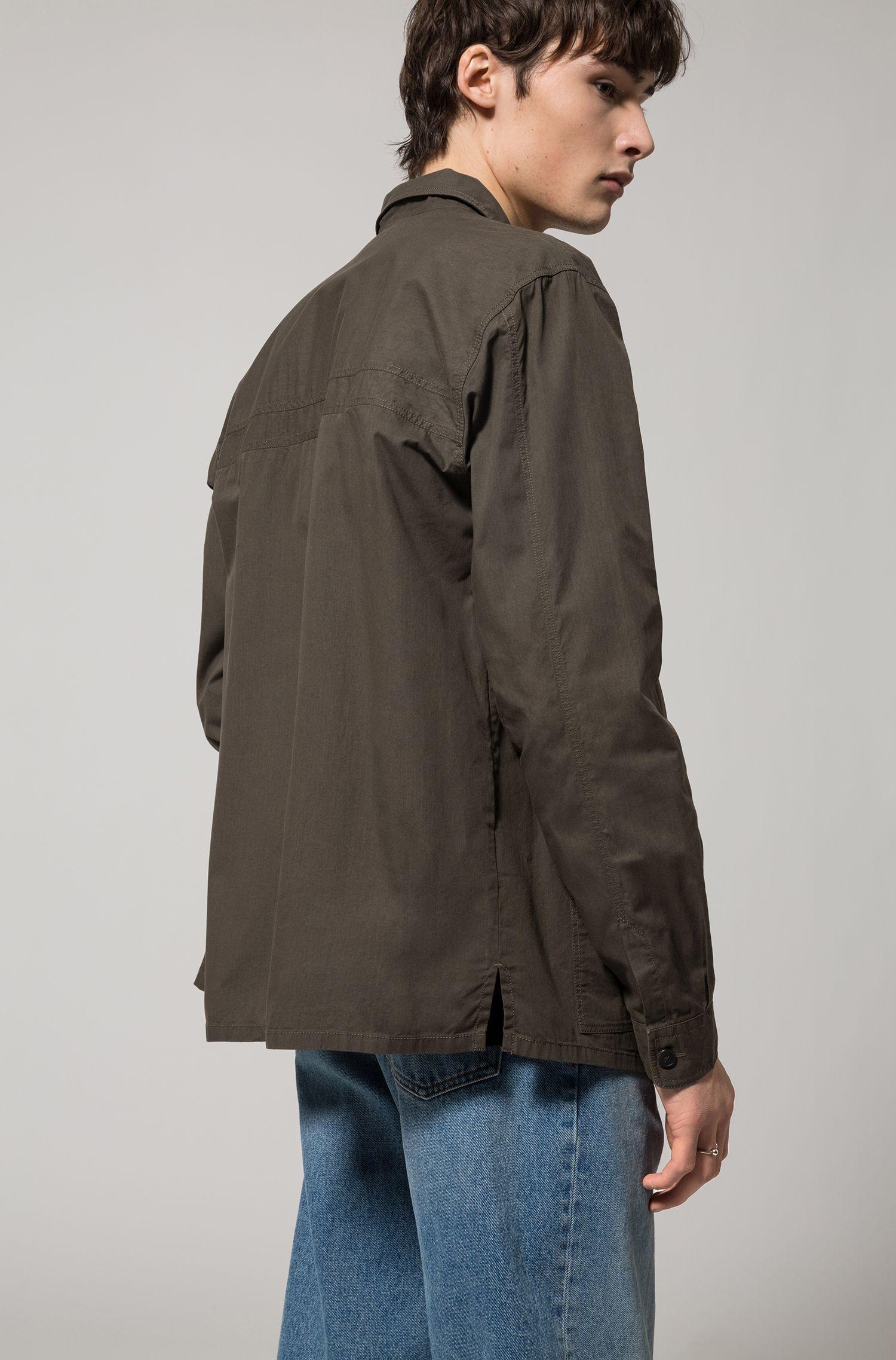 Relaxed-fit overhemd van gewaxte katoen met opgezette zakken