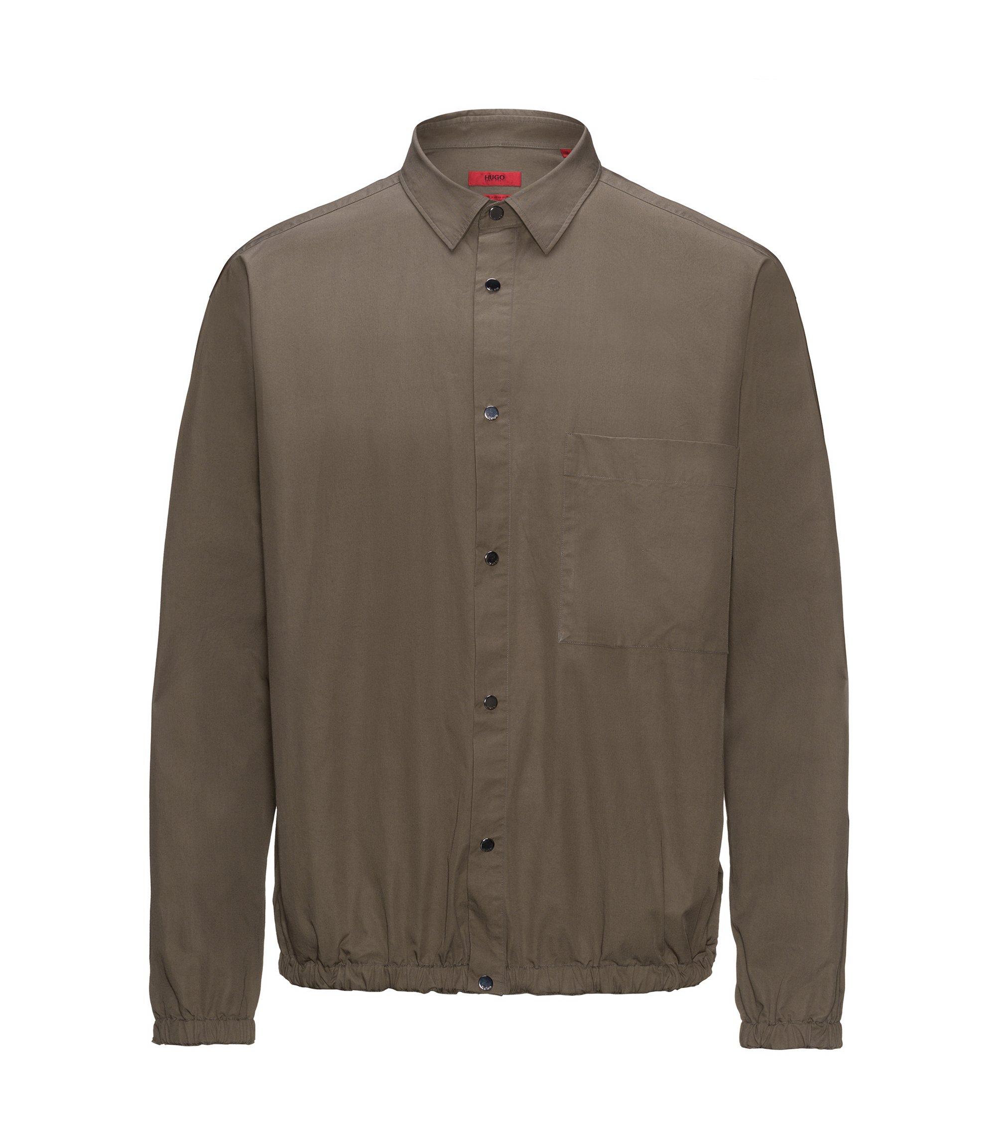 Relaxed-Fit Hemd aus hauchdünner Baumwolle mit elastischen Abschlüssen, Braun