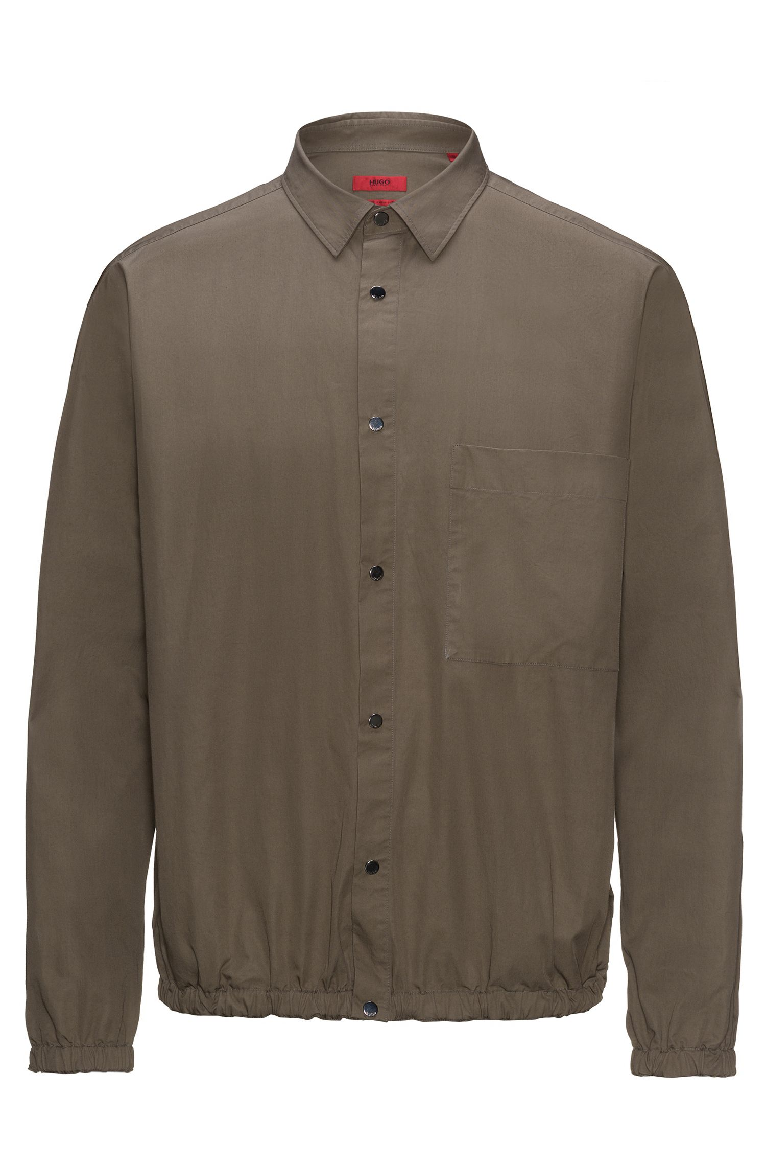 Relaxed-fit shirt in paper-touch cotton with elasticated hems