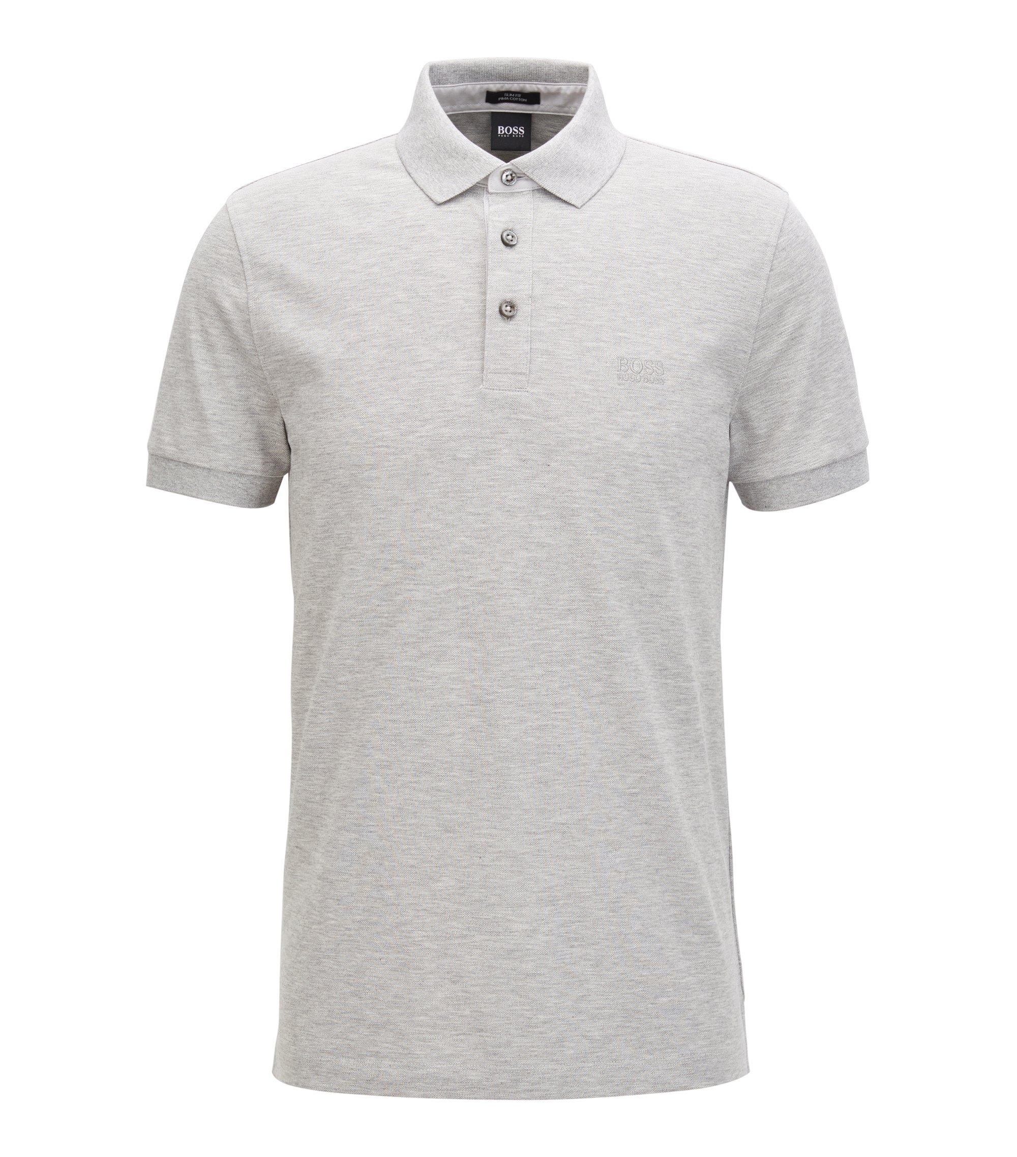 Slim-fit polo shirt in mercerised cotton piqué, Light Grey