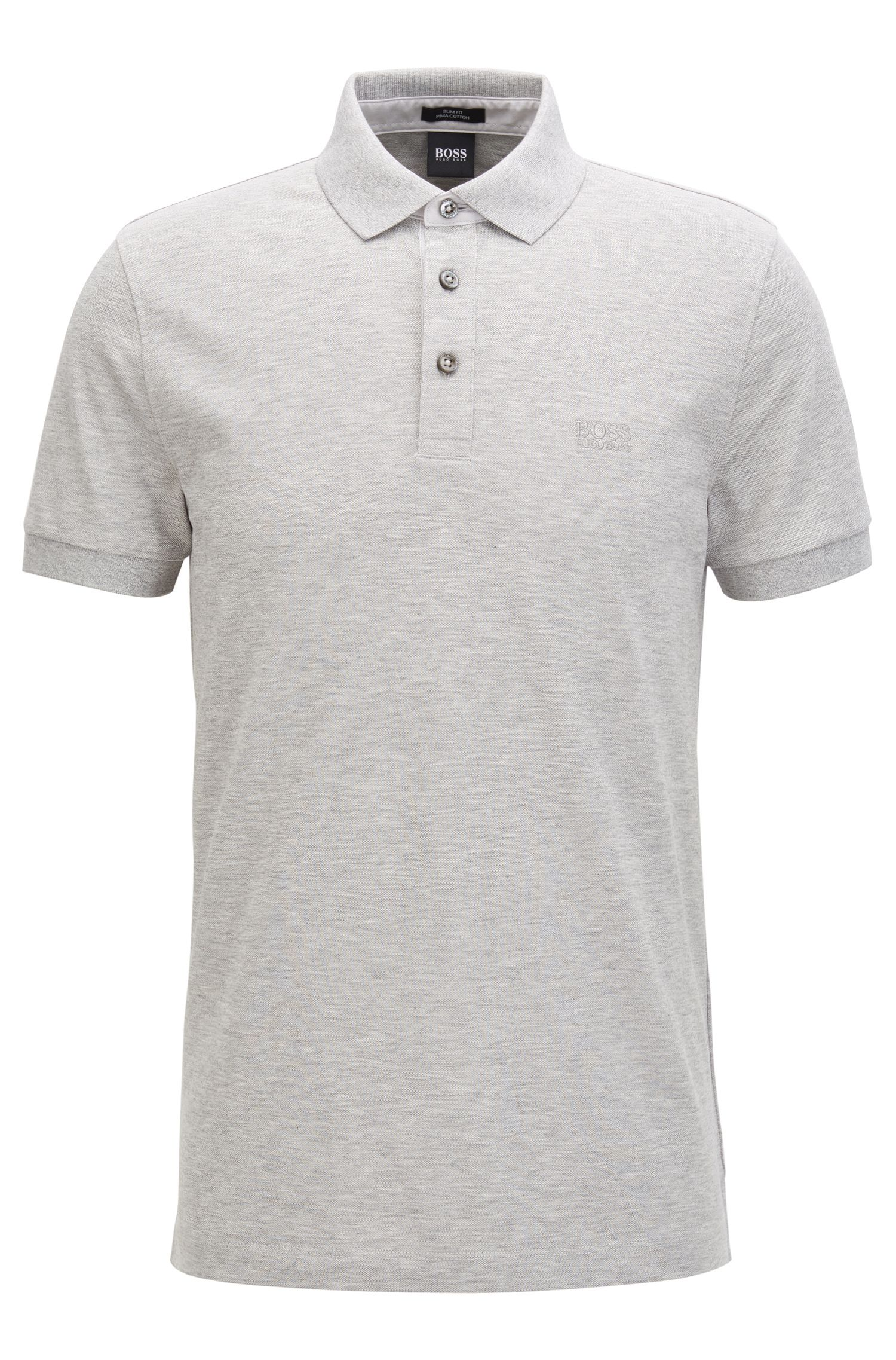 Slim-fit polo shirt in mercerised cotton piqué