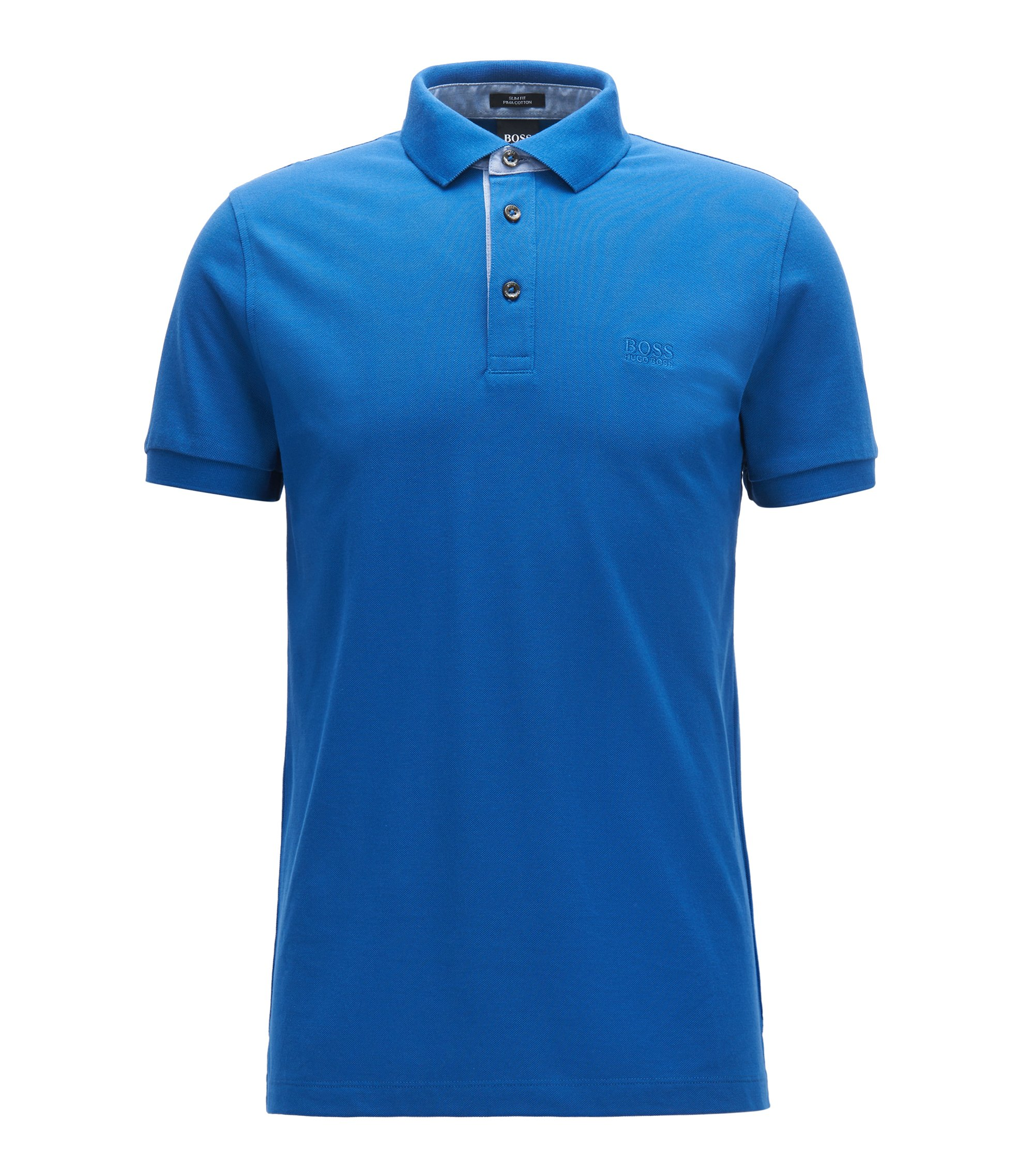 Slim-fit polo shirt in mercerised cotton piqué, Blue