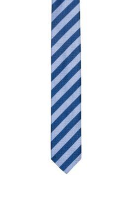 Gestreifte Krawatte aus Seiden-Jacquard, Blau