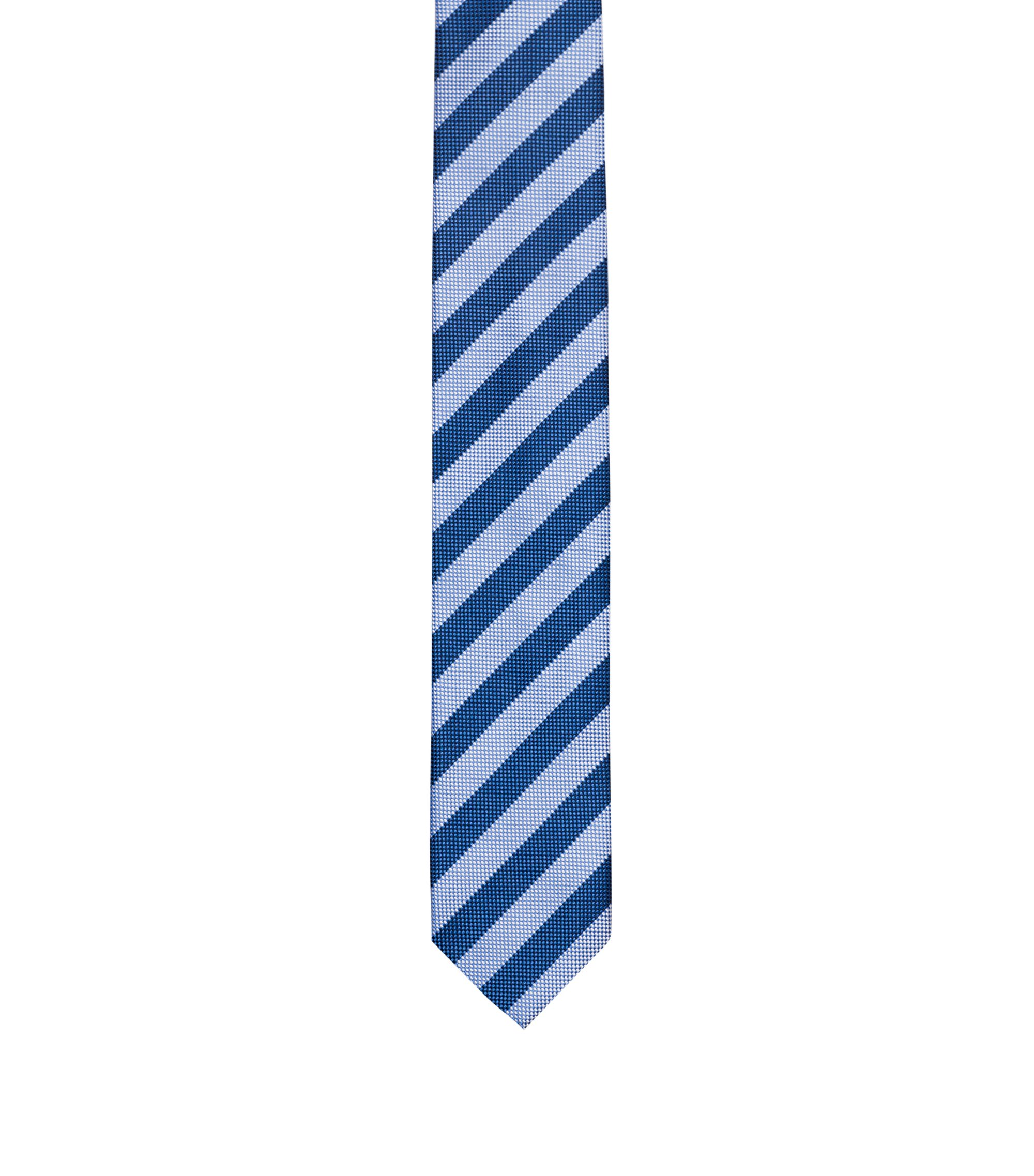 Silk jacquard tie with diagonal stripe, Blue