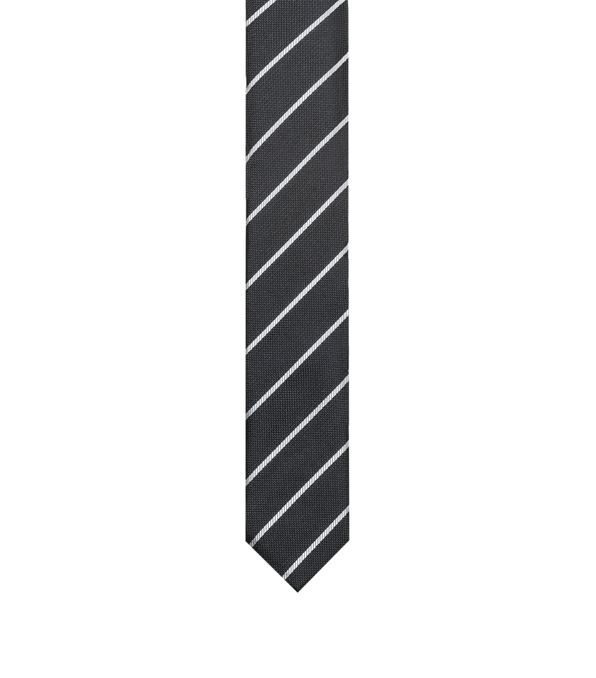 Silk jacquard tie with diagonal stripes, Black